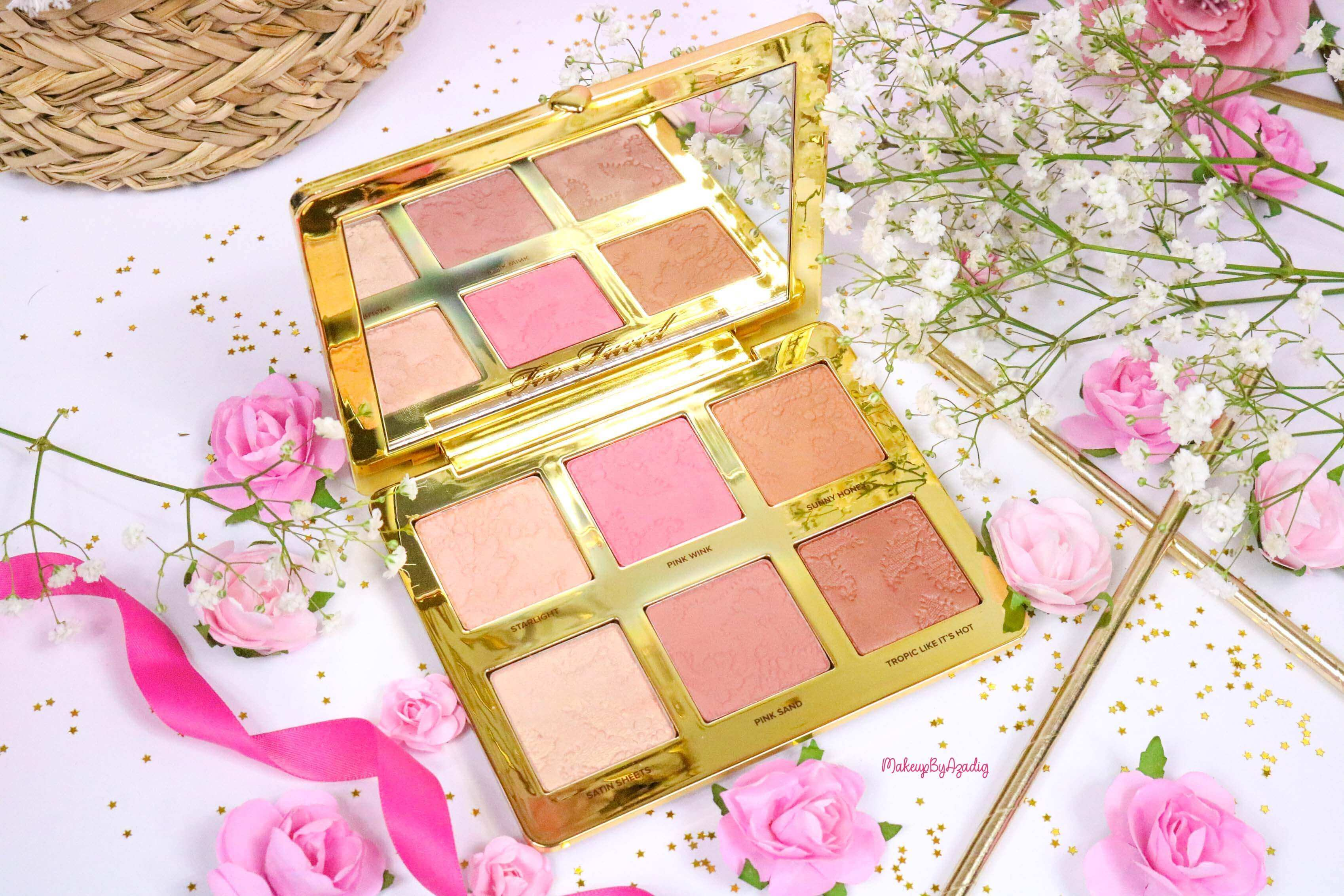 revue-review-palette-teint-natural-face-too-faced-makeupbyazadig-sephora-france-avis-prix-swatch-blush-highlighter-teinte