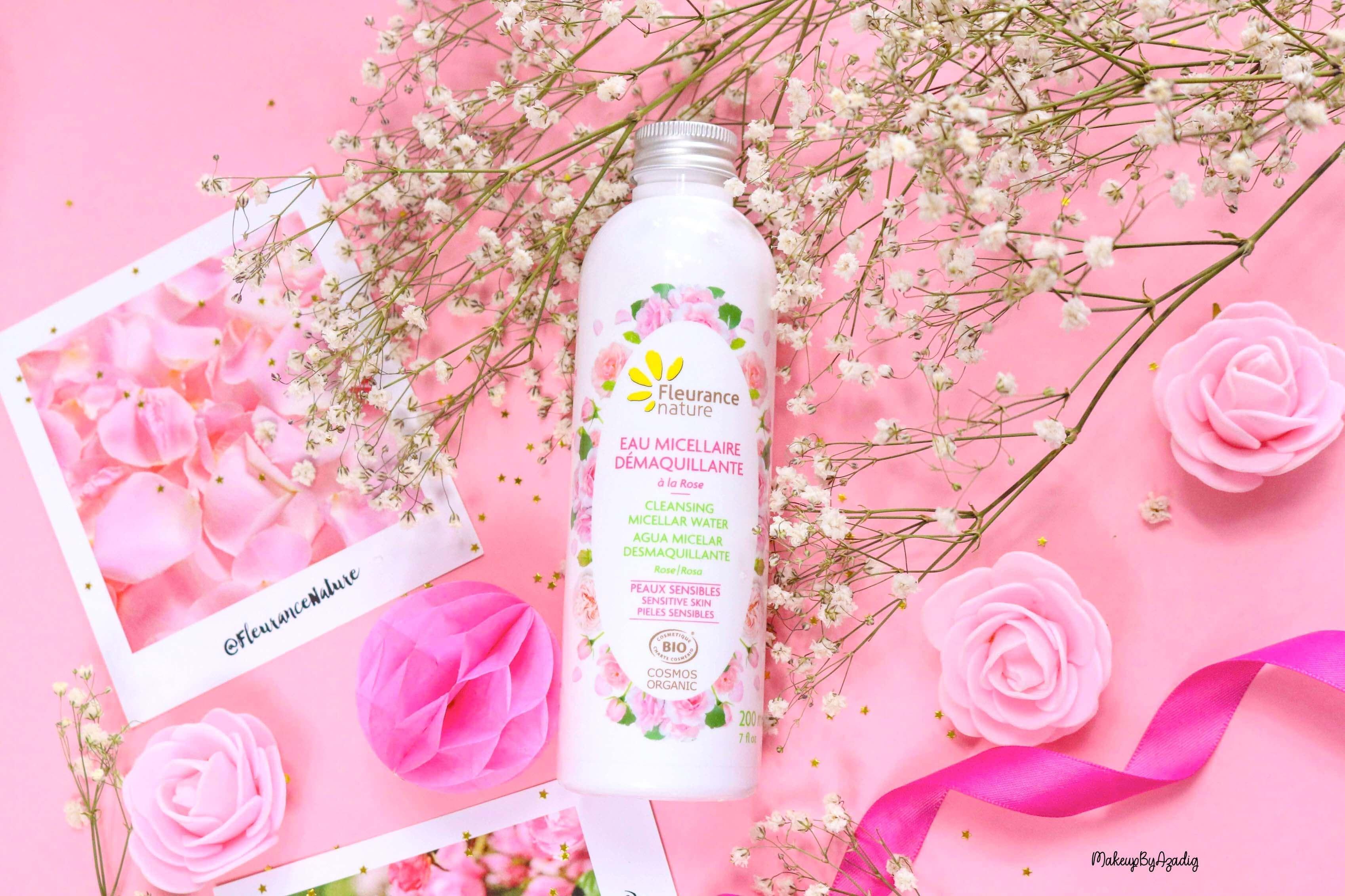 revue-eau-micellaire-demaquillante-eau-florale-rose-fleurance-nature-demaquillage-parfait-peau-acneique-makeupbyazadig-avis-prix-promo-damas