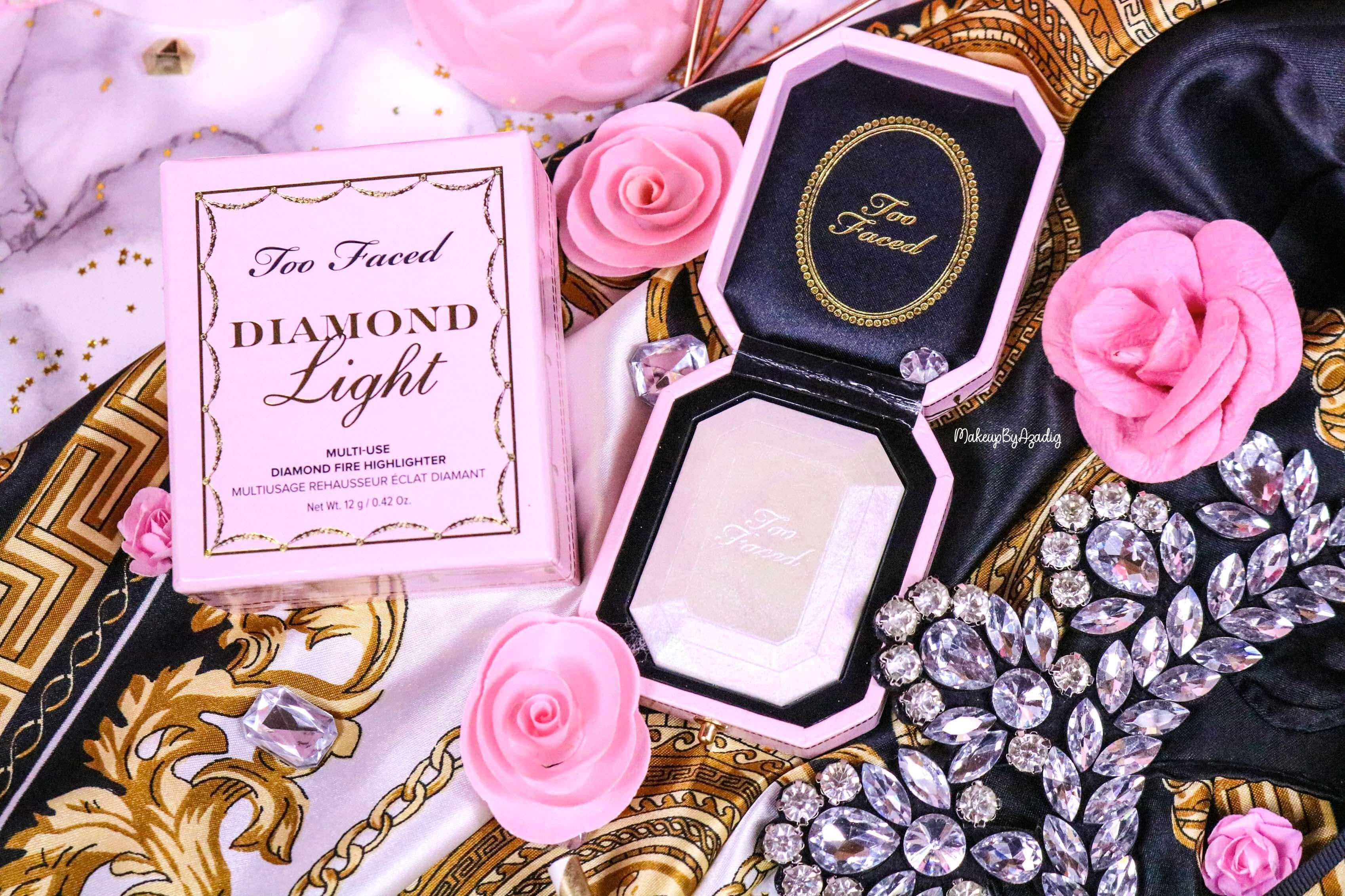revue-highlighter-diamond-light-toofaced-enlumineur-diamant-collection-makeup-makeupbyazadig-sortie-france-influencer-swatch-avis-prix-collector