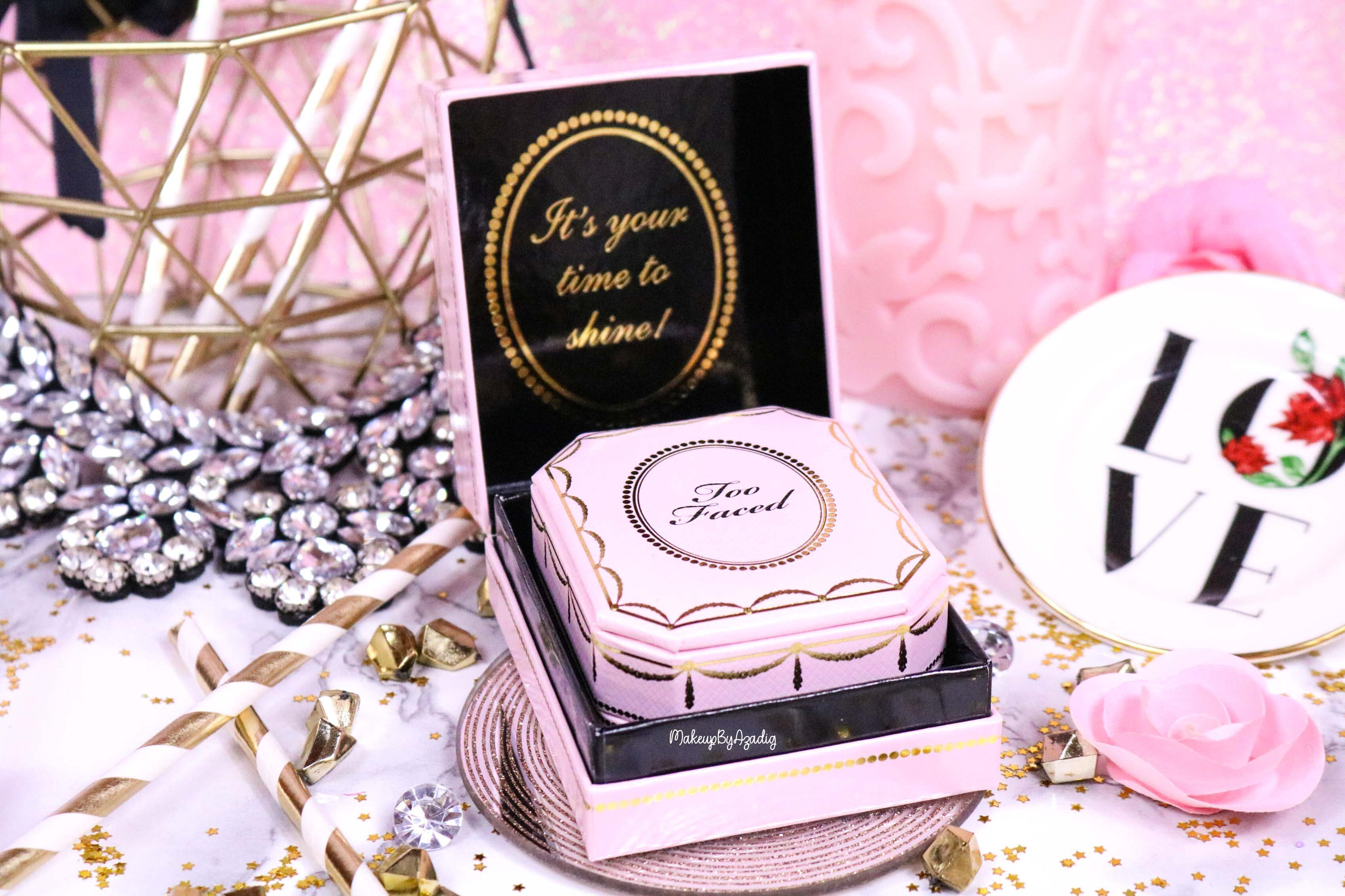 revue-highlighter-diamond-light-toofaced-enlumineur-diamant-collection-makeup-makeupbyazadig-sortie-france-influencer-swatch-avis-prix-shine