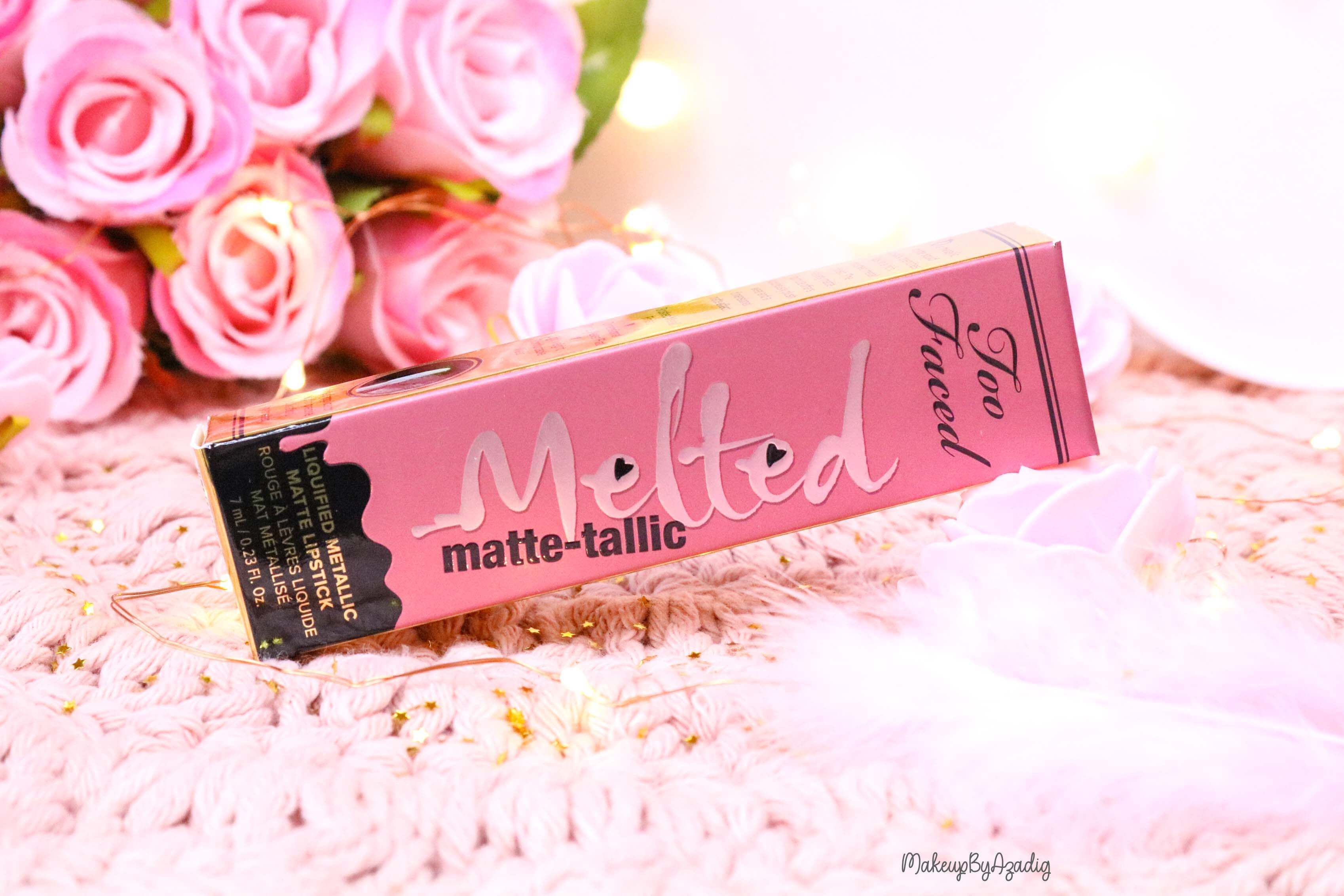 revue-melted-matte-tallic-rouge-a-levres-breakup-makeup-makeupbyazadig-sortie-france-influencer-swatch-avis-prix-too-faced