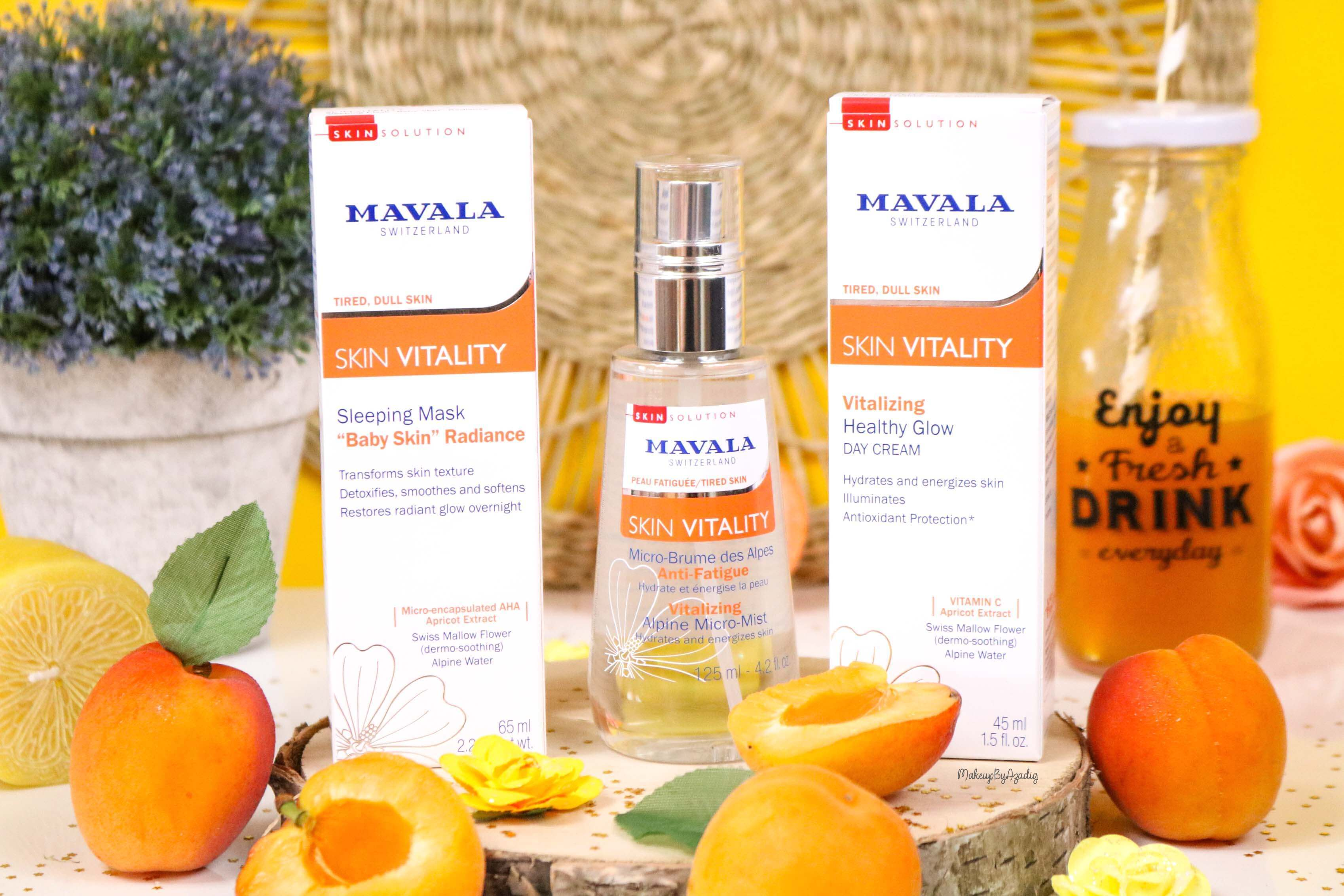 revue-routine-soin-bio-efficace-peau-sensible-skin-vitality-mavala-suisse-masque-nuit-serum-creme-jour-makeupbyazadig-abricot