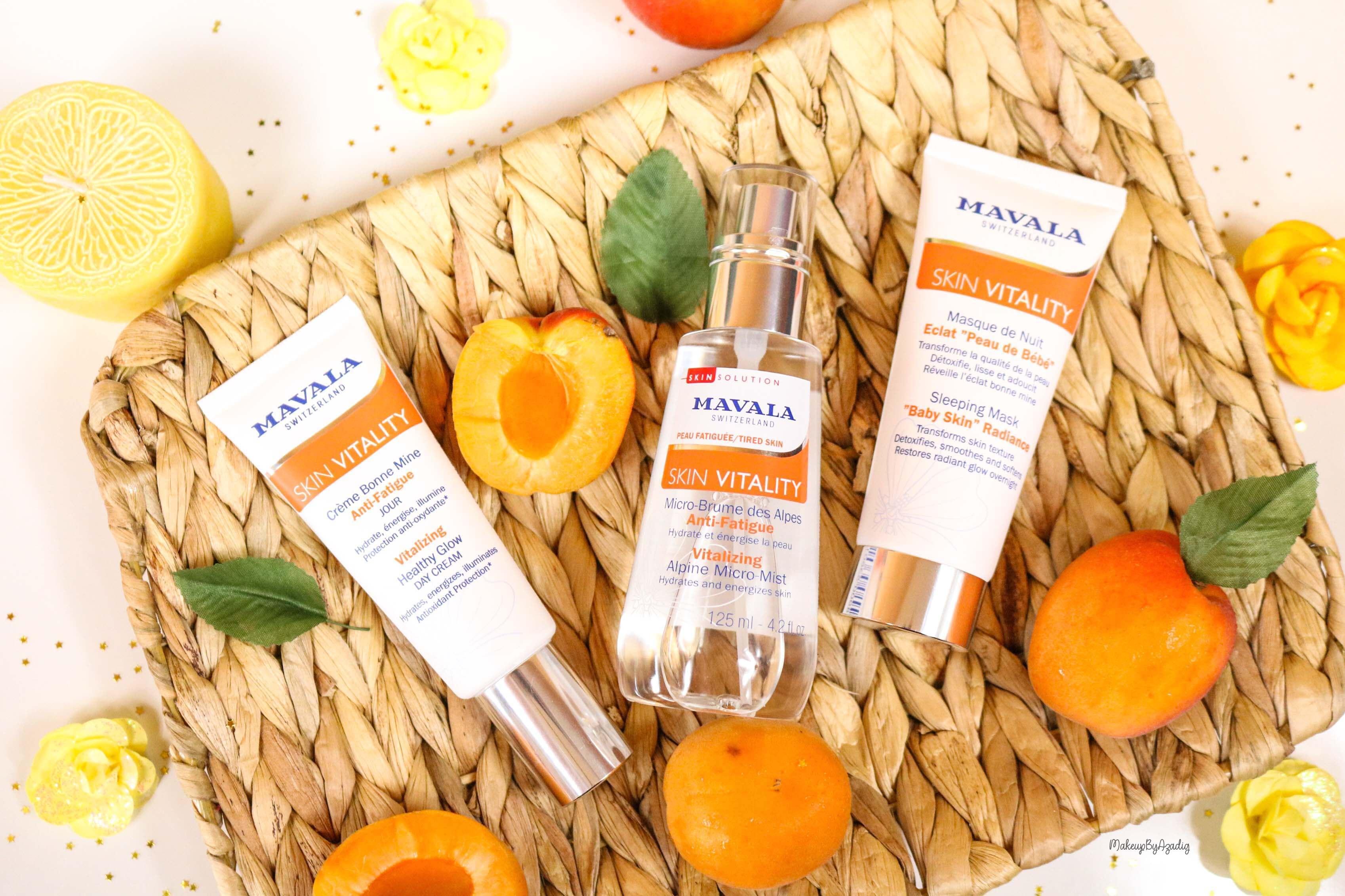 revue-routine-soin-bio-efficace-peau-sensible-skin-vitality-mavala-suisse-masque-nuit-serum-creme-jour-makeupbyazadig-apricot