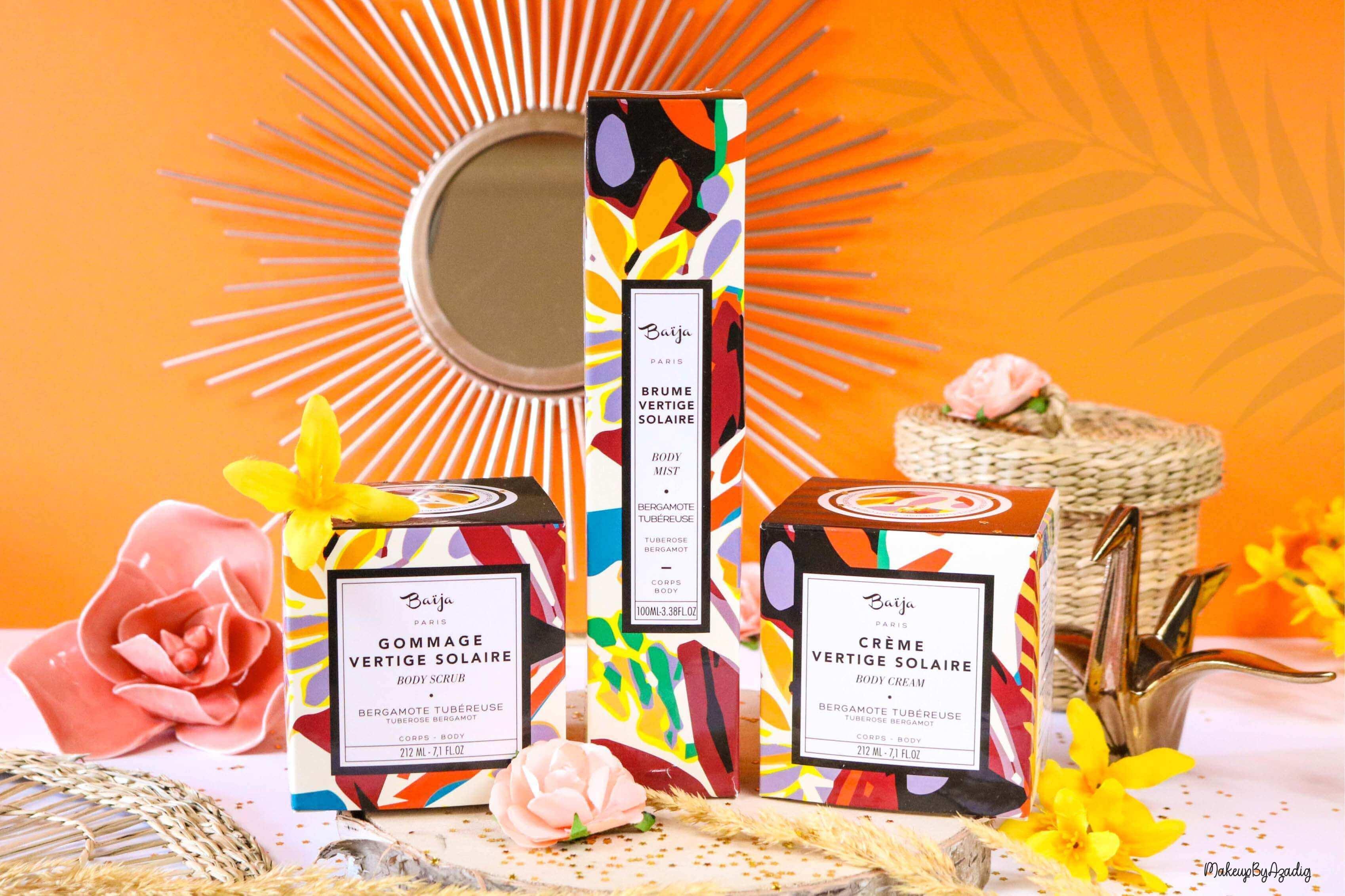 nouveaute-soin-baija-vertige-solaire-sephora-promo-code-gommage-creme-corps-brume-avis-prix-makeupbyazadig-qualite-soleil