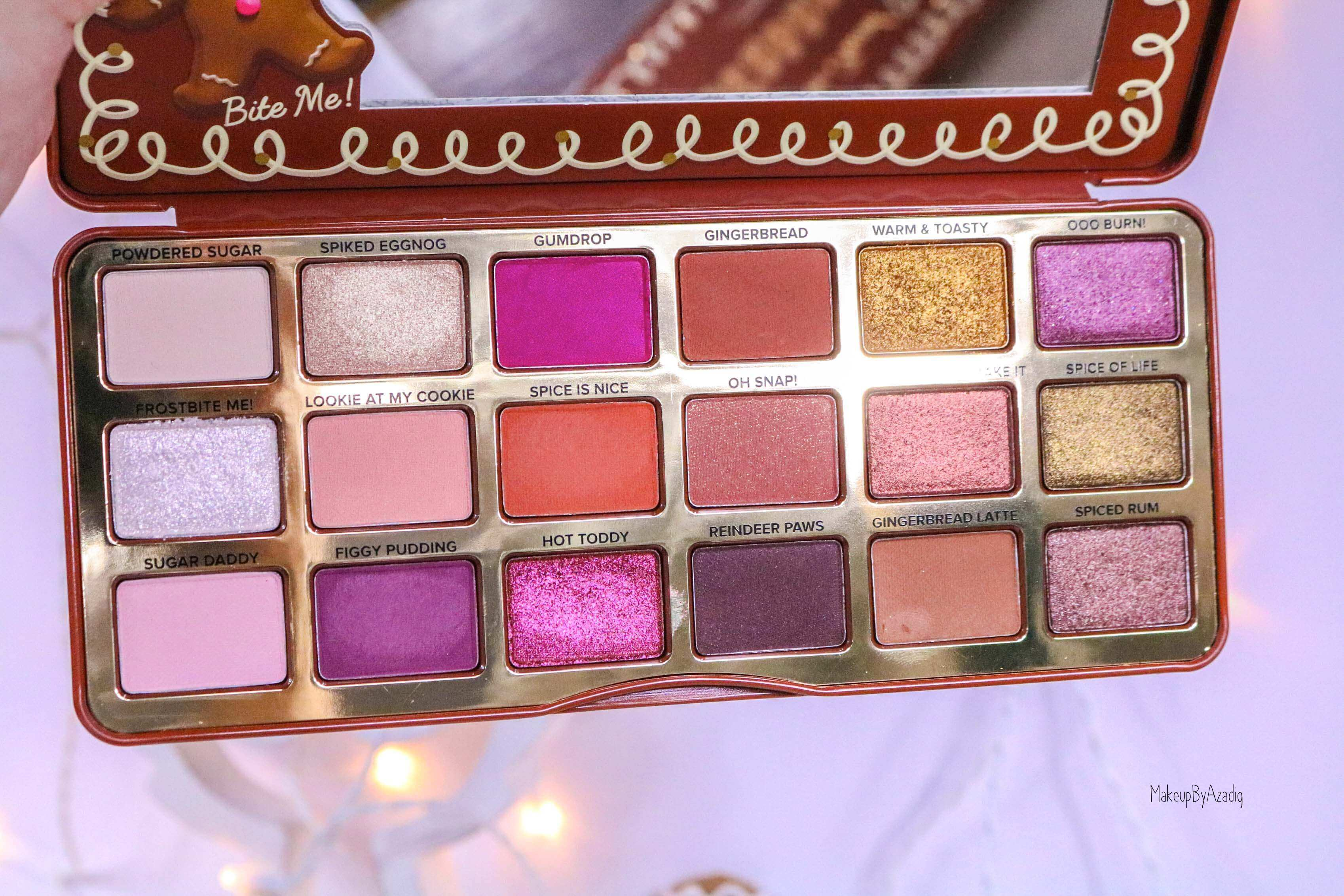 revue-palette-too-faced-gingerbread-spice-noel-france-makeupbyazadig-avis-prix-swatch-cute-zoom