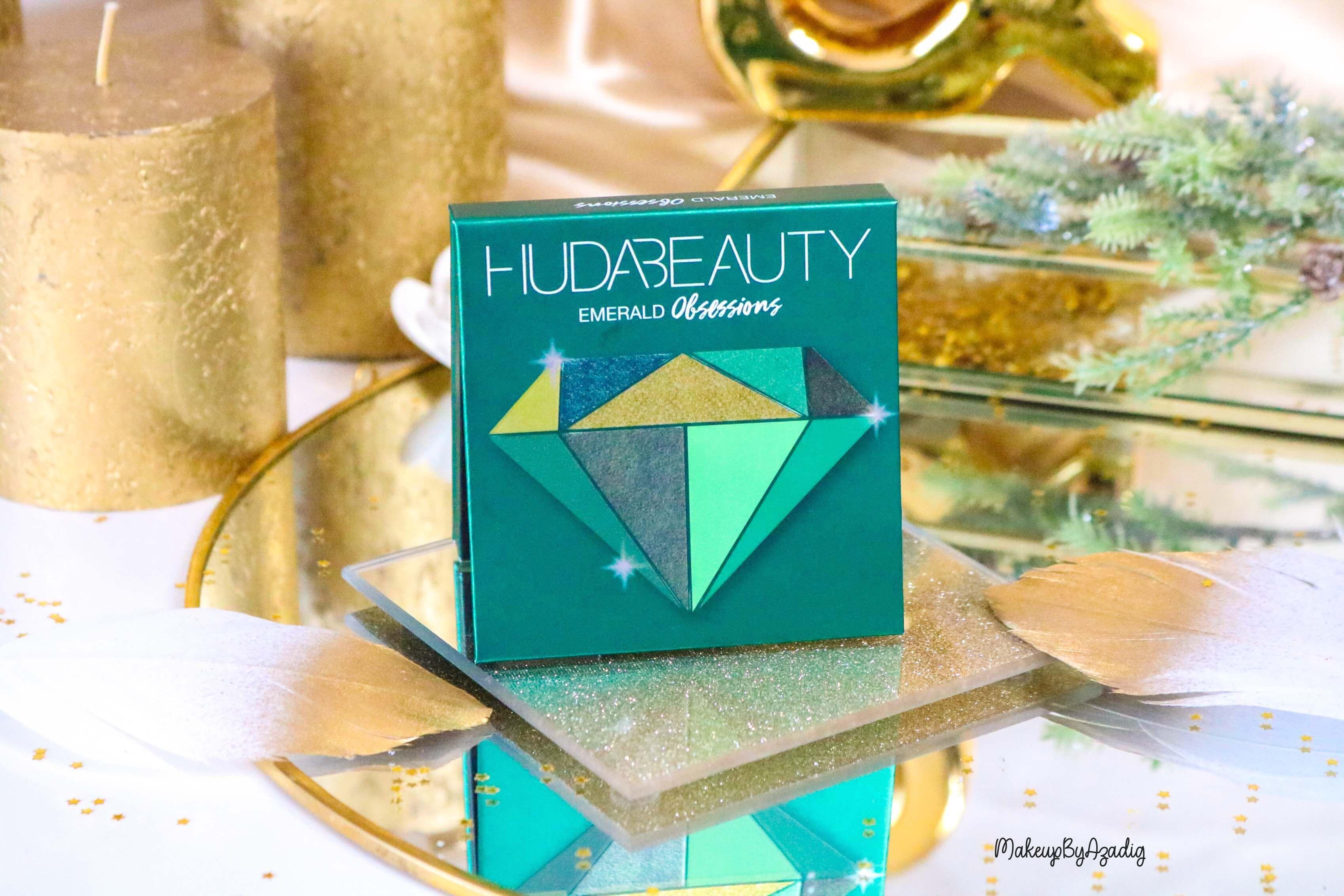 revue-review-palette-emerald-obsessions-huda-beauty-topaz-sapphire-avis-prix-swatch-makeupbyazadig-meilleure-emeraude