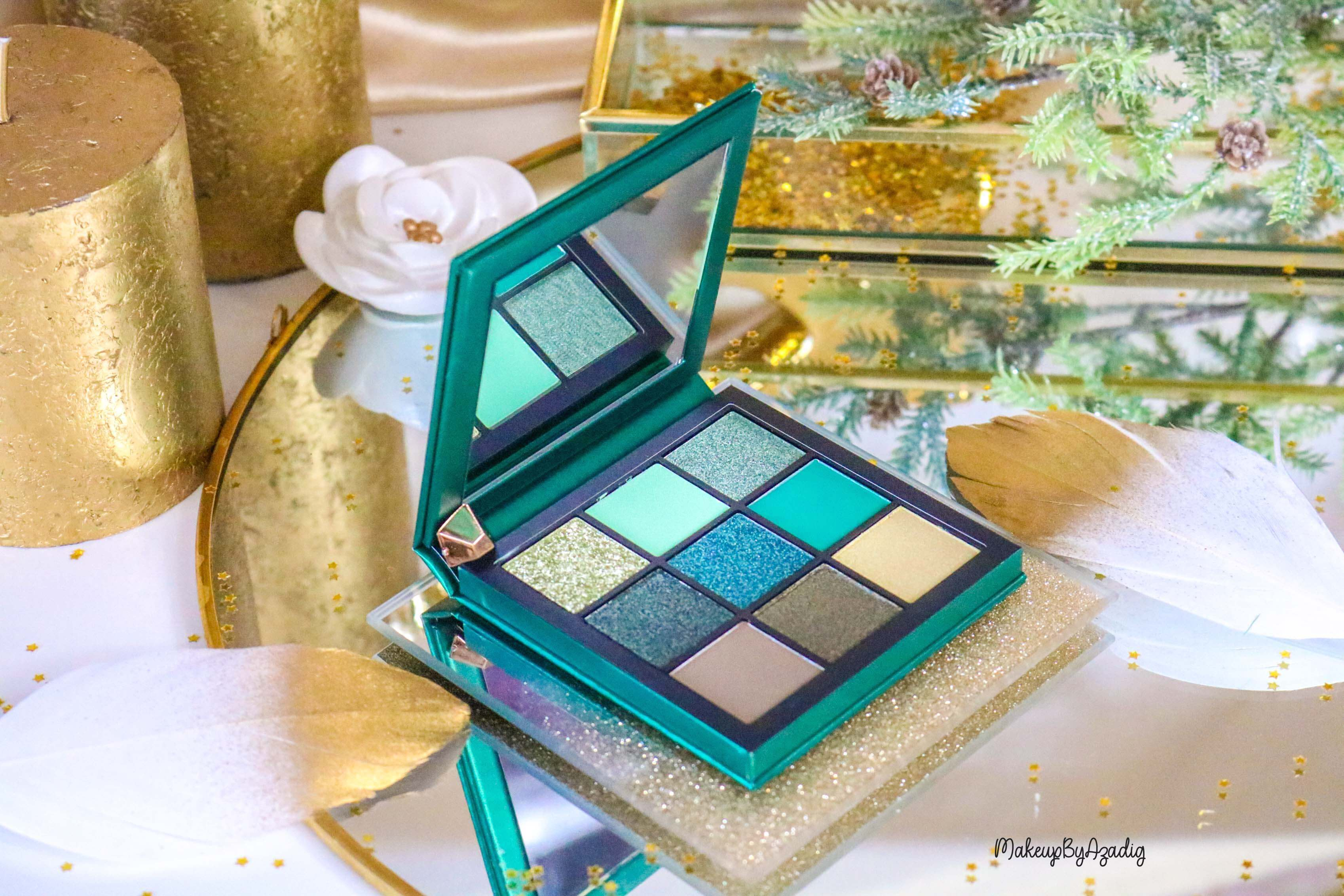 revue-review-palette-emerald-obsessions-huda-beauty-topaz-sapphire-avis-prix-swatch-makeupbyazadig-meilleure-green