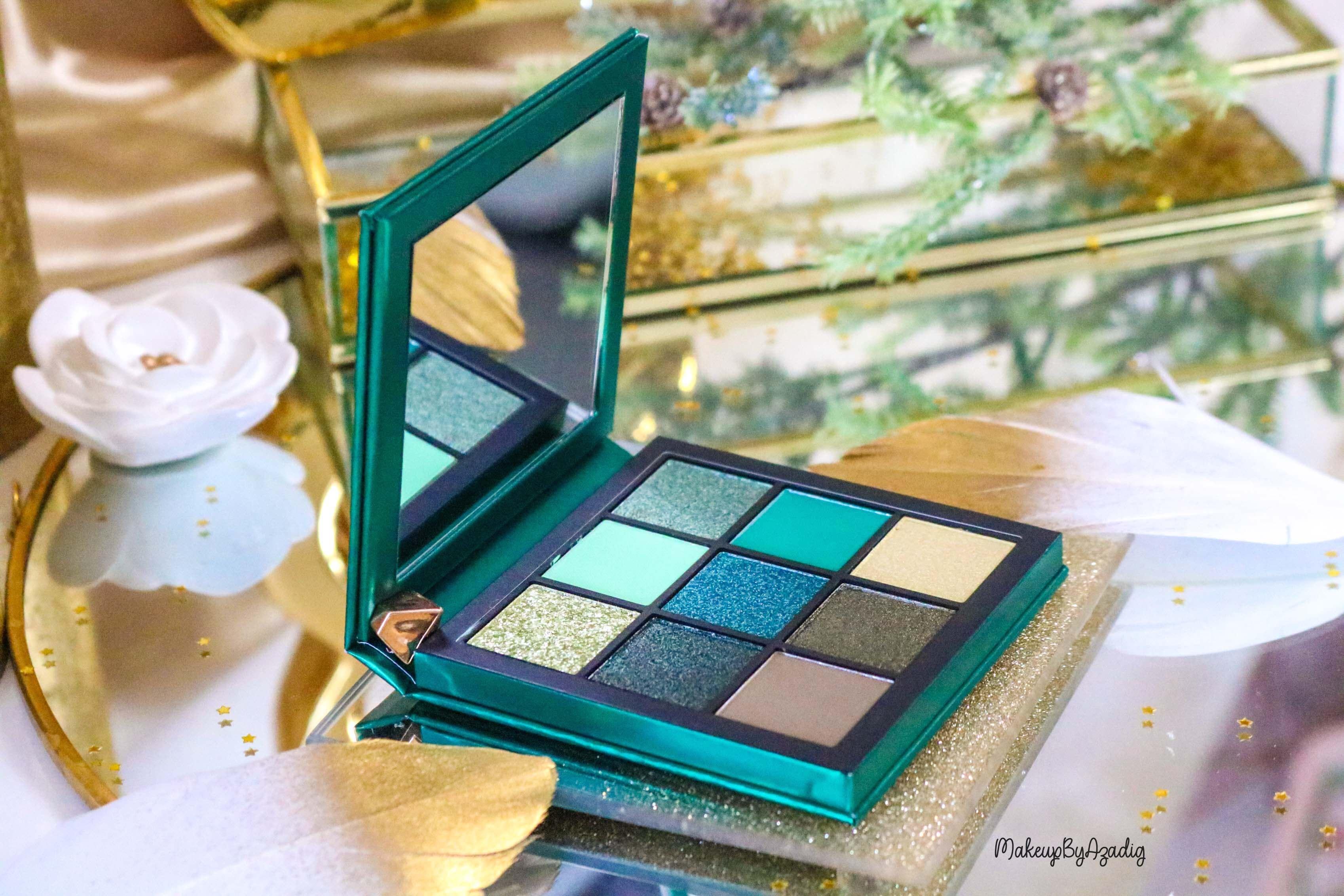 revue-review-palette-emerald-obsessions-huda-beauty-topaz-sapphire-avis-prix-swatch-makeupbyazadig-meilleure-verte