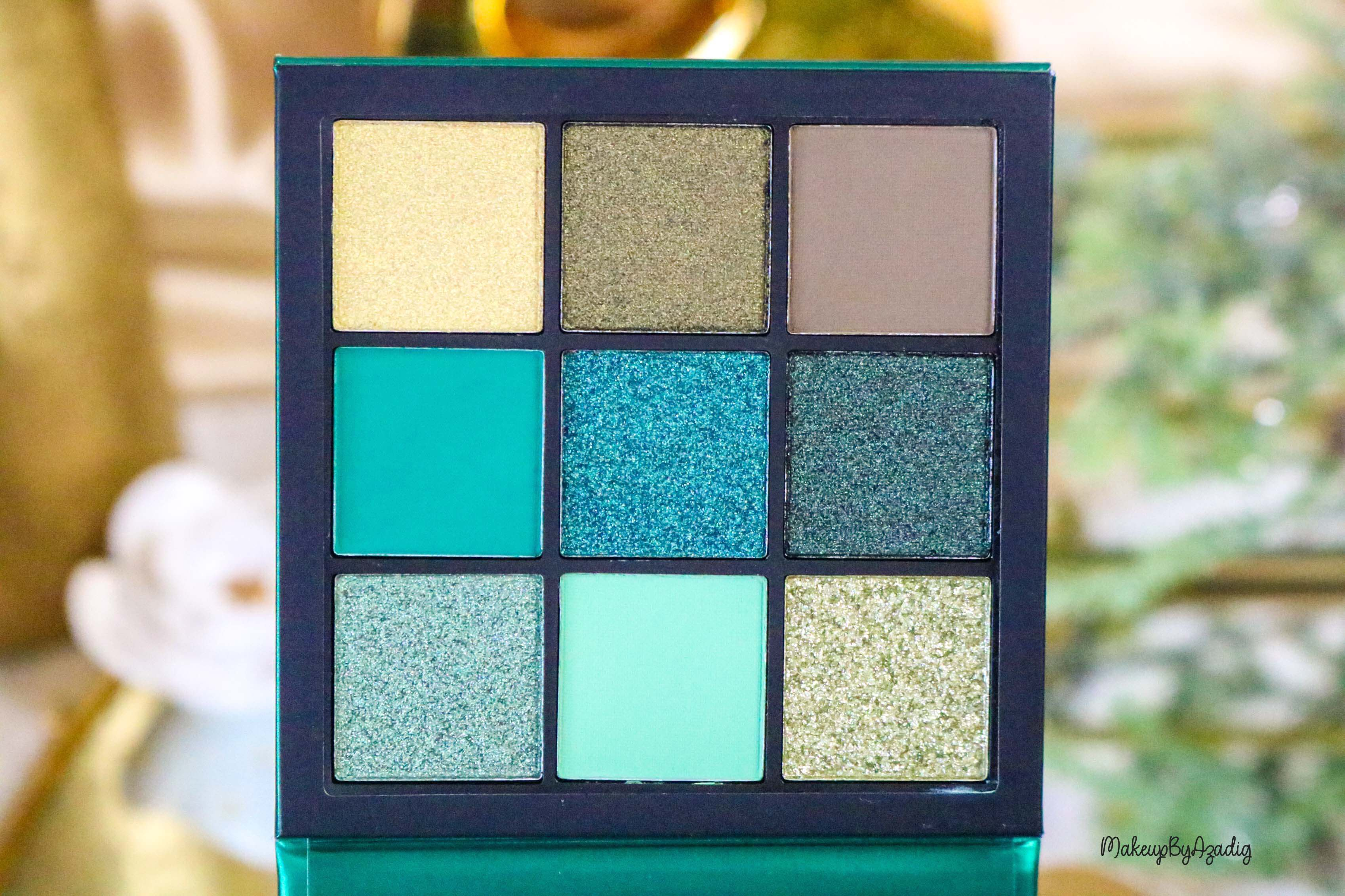 revue-review-palette-emerald-obsessions-huda-beauty-topaz-sapphire-avis-prix-swatch-makeupbyazadig-meilleure-zoom