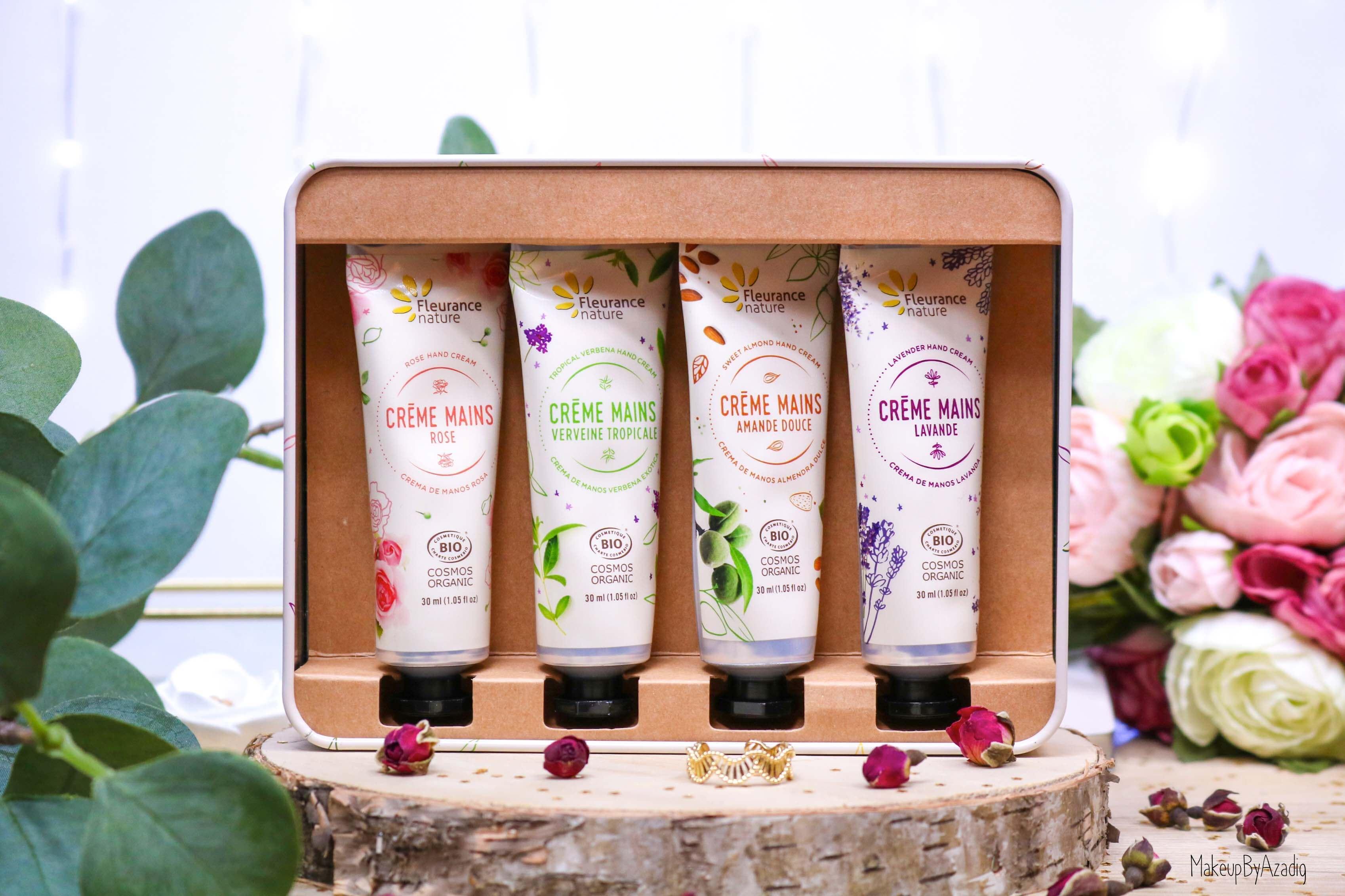 revue-creme-hydratante-reparatrice-mains-hand-bio-beaute-fleurance-nature-makeupbyazadig-verveine-lavande-rose-amande-coffret
