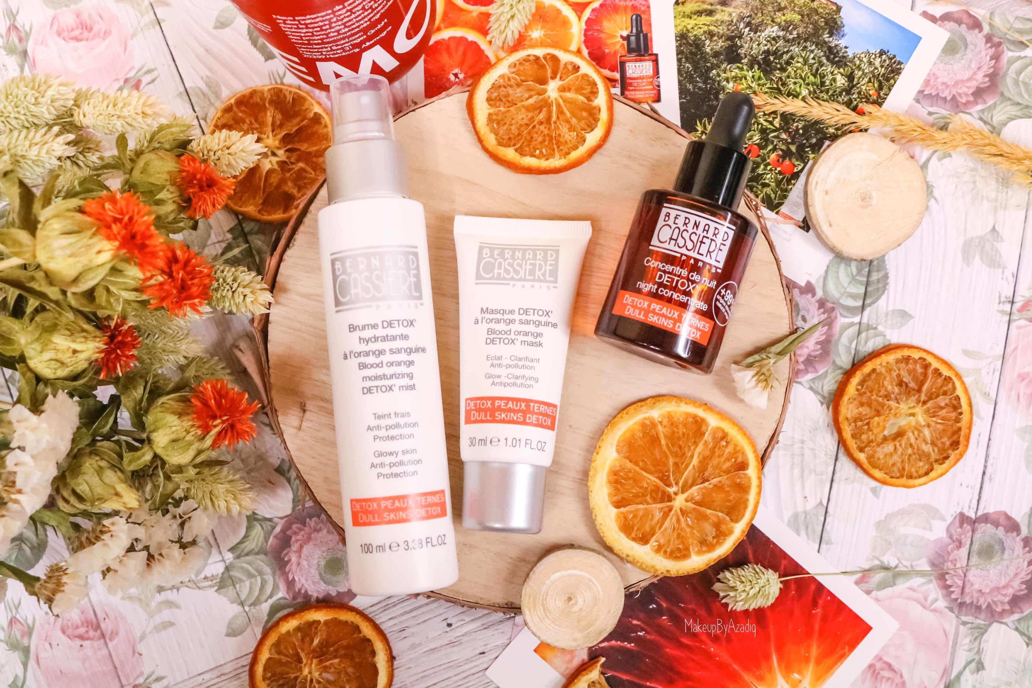 revue-produits-bernard-cassiere-bio-detox-orange-sanguine-masque-paris-institut-concentre-nuit-avis-prix-soin-makeupbyazadig-vitamine