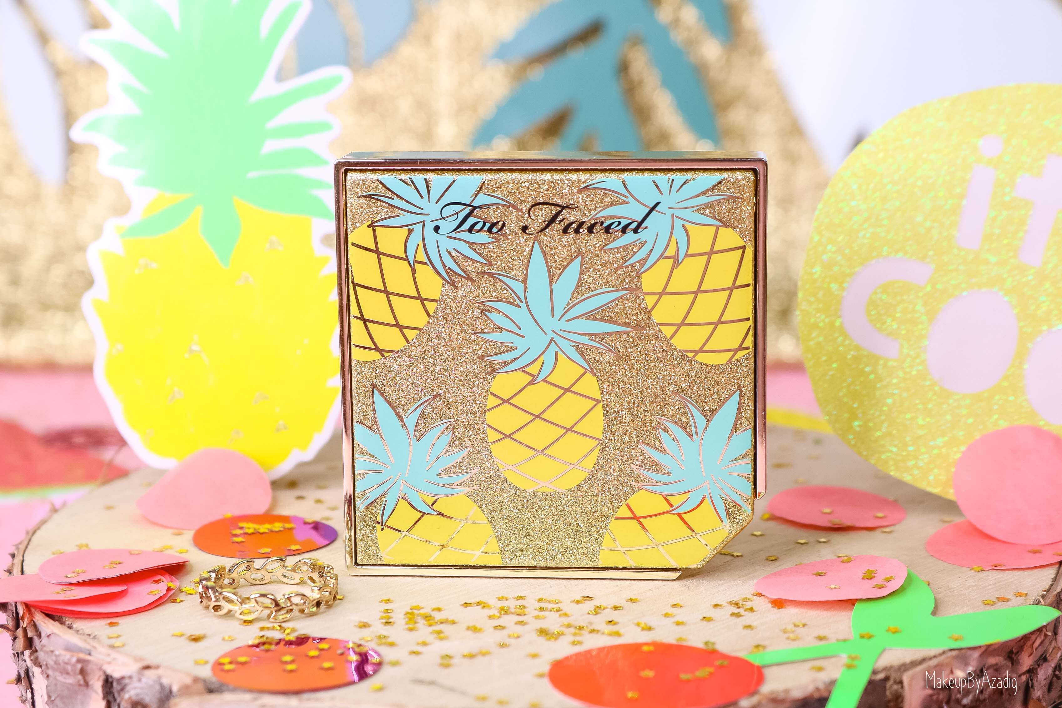 revue-collection-tutti-frutti-too-faced-bronzeur-highlighter-pineapple-paradise-sun-sephora-france-makeupbyazadig-swatch-avis-prix-ananas-packaging