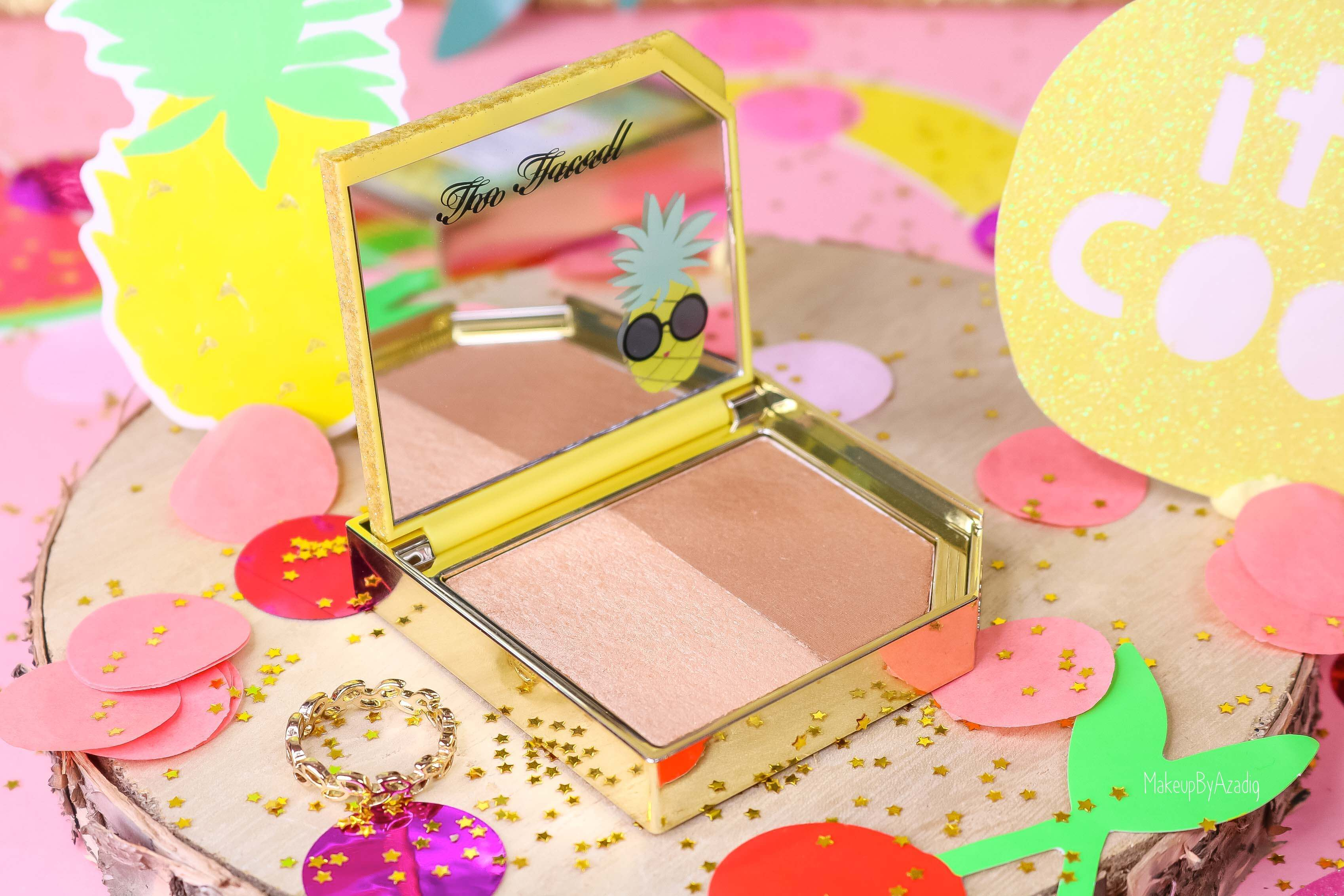 revue-collection-tutti-frutti-too-faced-bronzeur-highlighter-pineapple-paradise-sun-sephora-france-makeupbyazadig-swatch-avis-prix-ananas-teinte