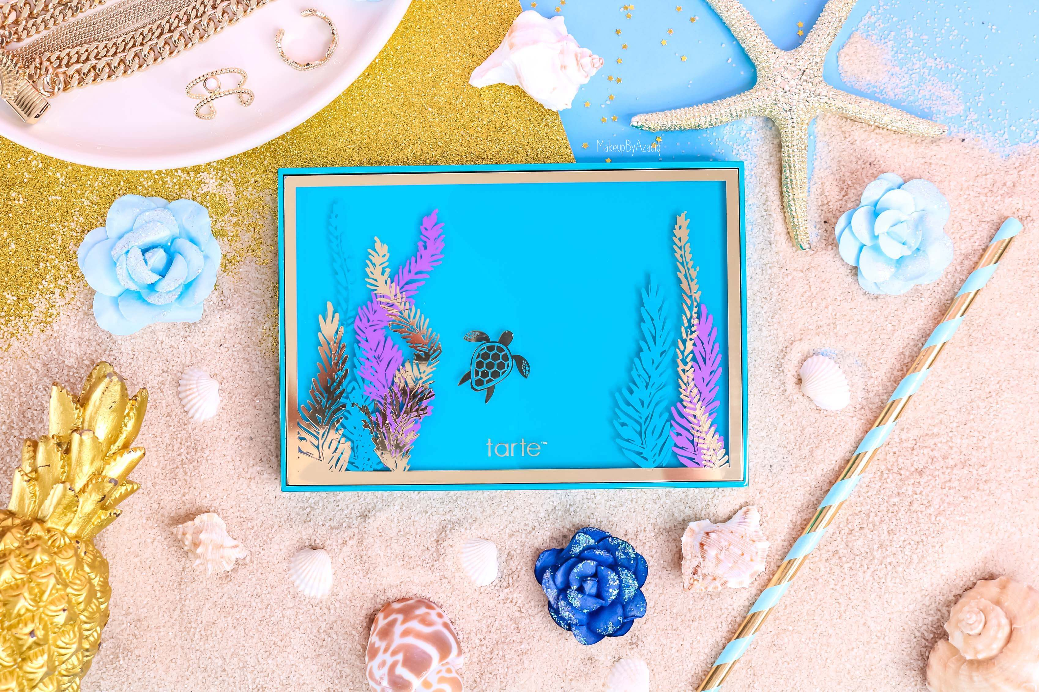 revue-palette-tarte-cosmetics-france-sephora-makeupbyazadig-swatch-prix-avis-rainforest-of-the-sea-packaging