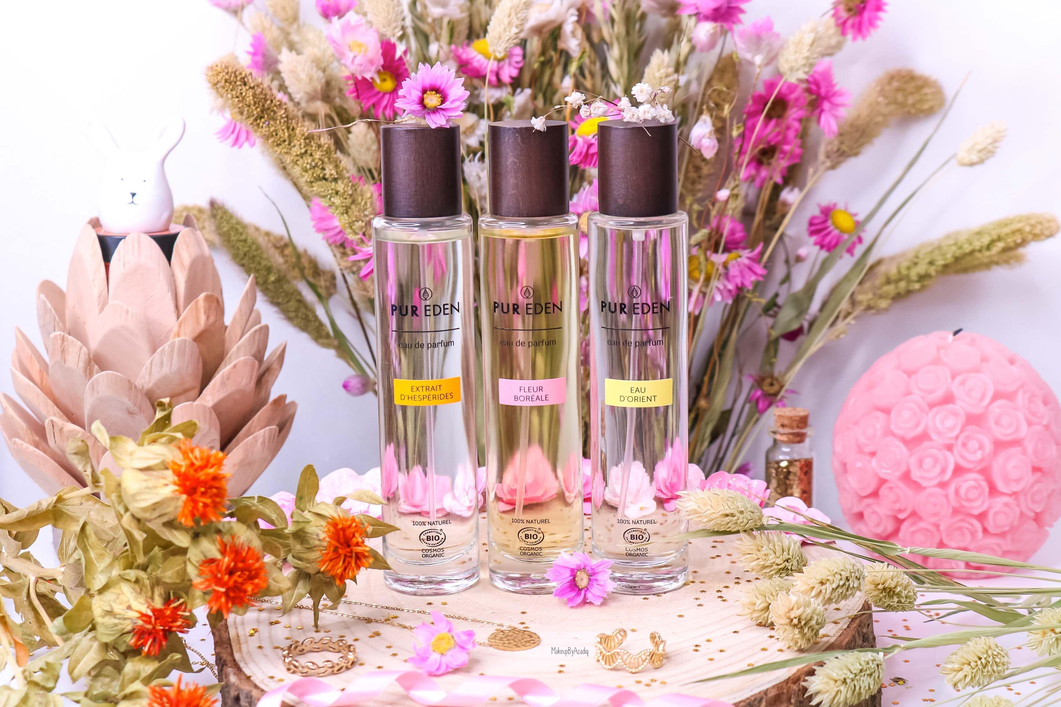 revue-eau-de-parfum-bio-vegan-pur-eden-fleur-boreale-extraits-hesperides-eau-dorient-makeupbyazadig-avis-prix-tenue-flacon