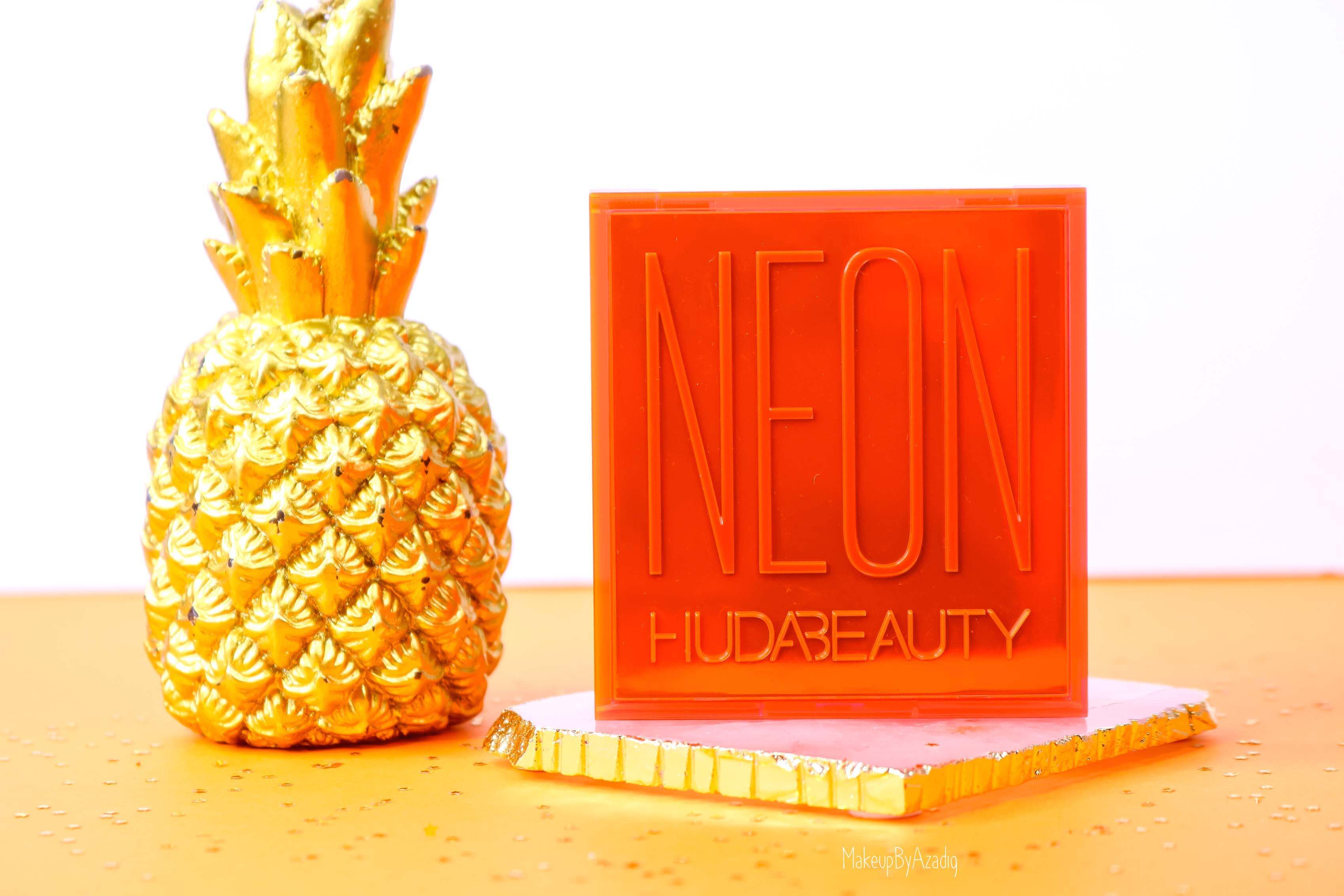 revue-review-palette-neon-obsession-huda-beauty-orange-pink-green-neon-palette-fard-paupieres-fluo-swatch-avis-prix-makeupbyazadig-flashy