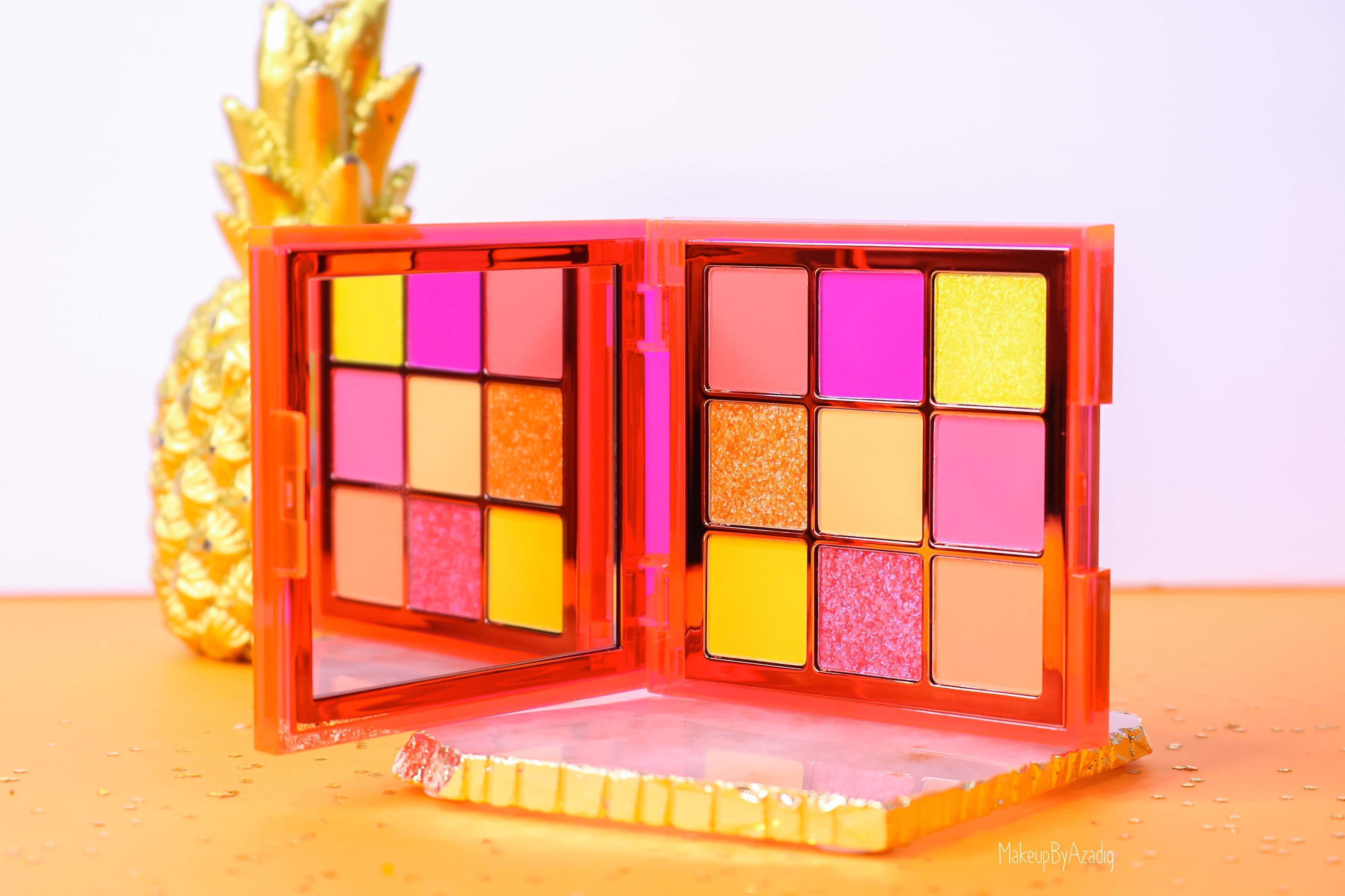 revue-review-palette-neon-obsession-huda-beauty-orange-pink-green-neon-palette-fard-paupieres-fluo-swatch-avis-prix-makeupbyazadig-glow