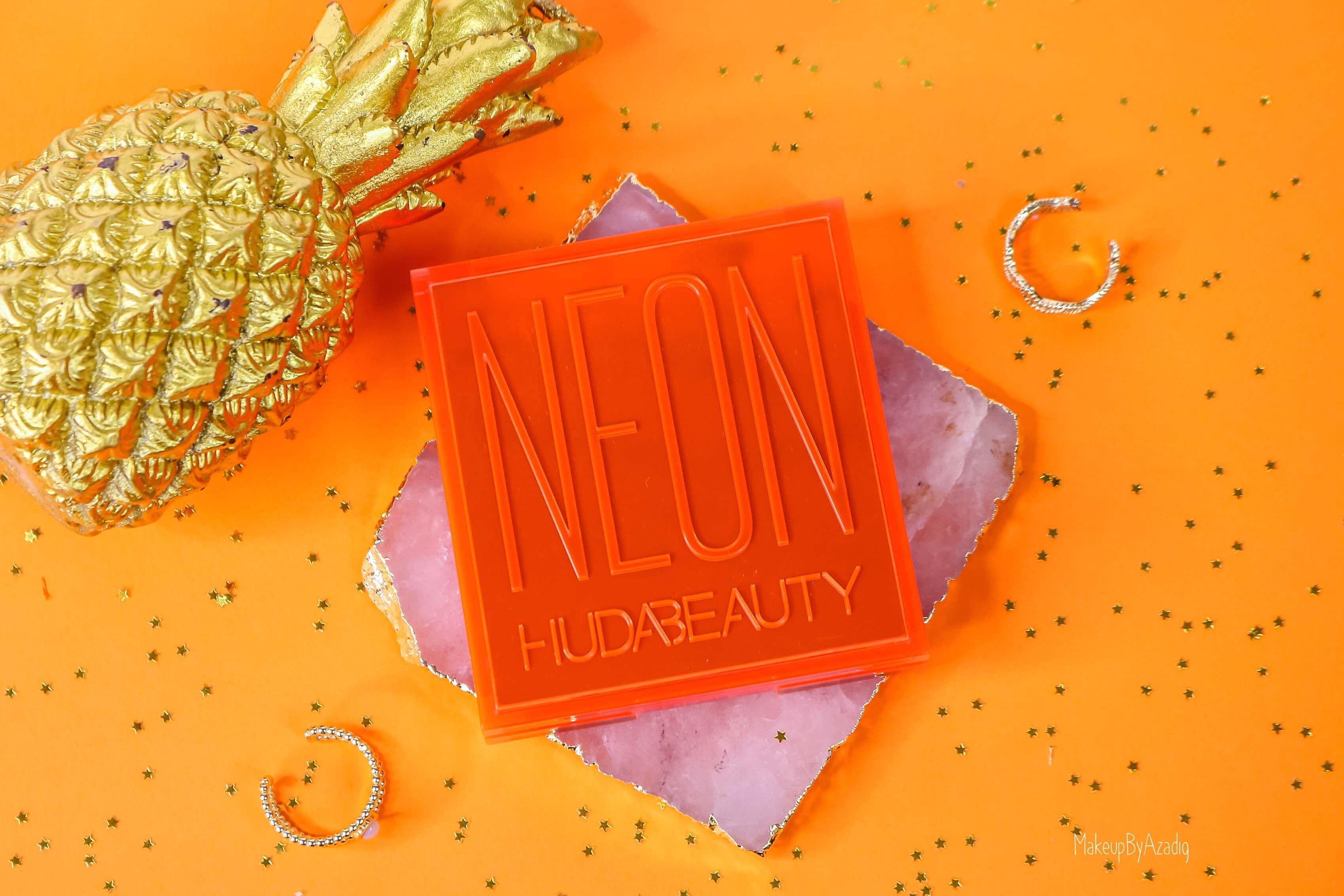revue-review-palette-neon-obsession-huda-beauty-orange-pink-green-neon-palette-fard-paupieres-fluo-swatch-avis-prix-makeupbyazadig-packaging
