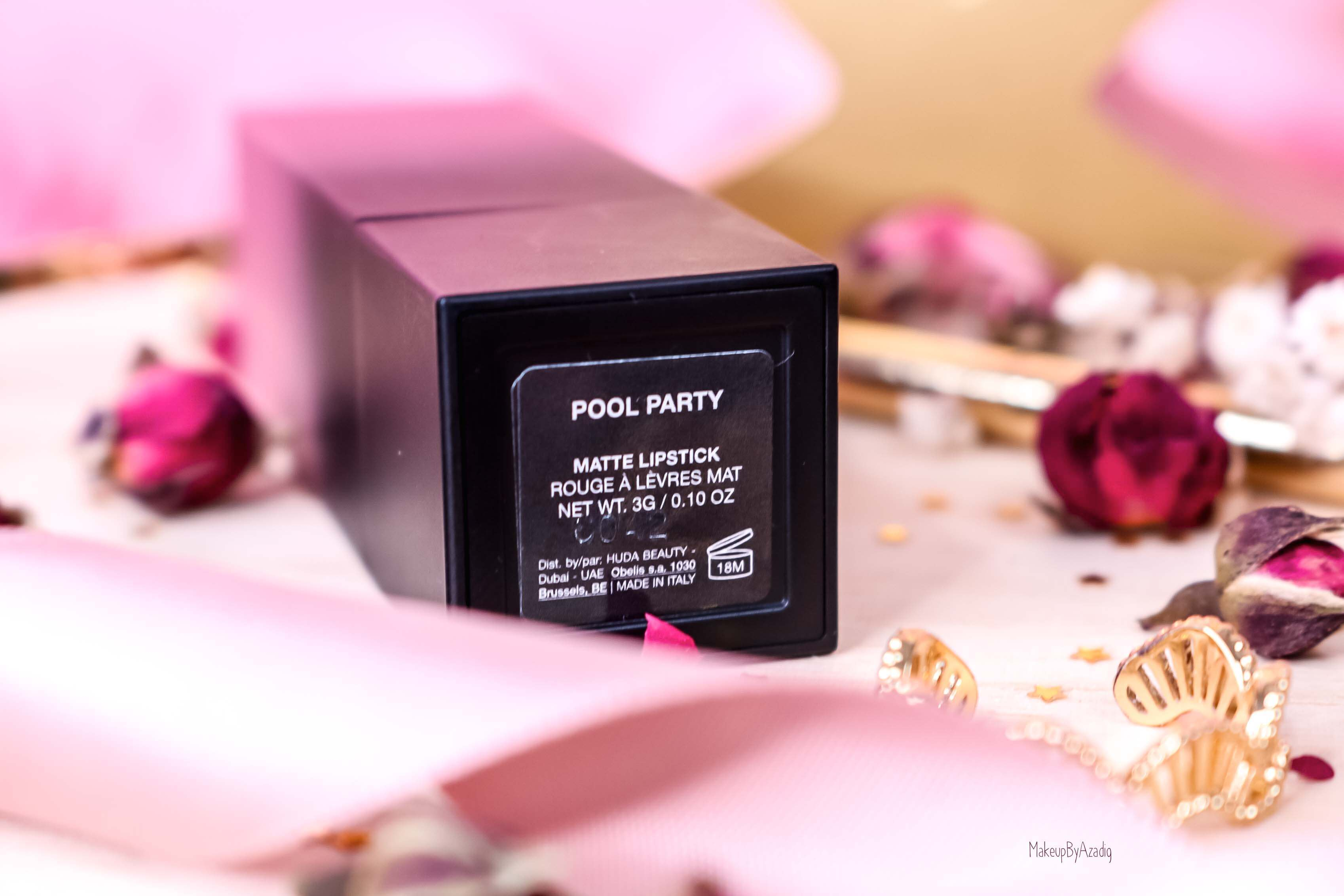 revue-rouge-a-levres-matte-power-bullet-huda-beauty-nouvelles-teintes-avis-swatch-prix-sephora-makeupbyazadig-pool-party-mat