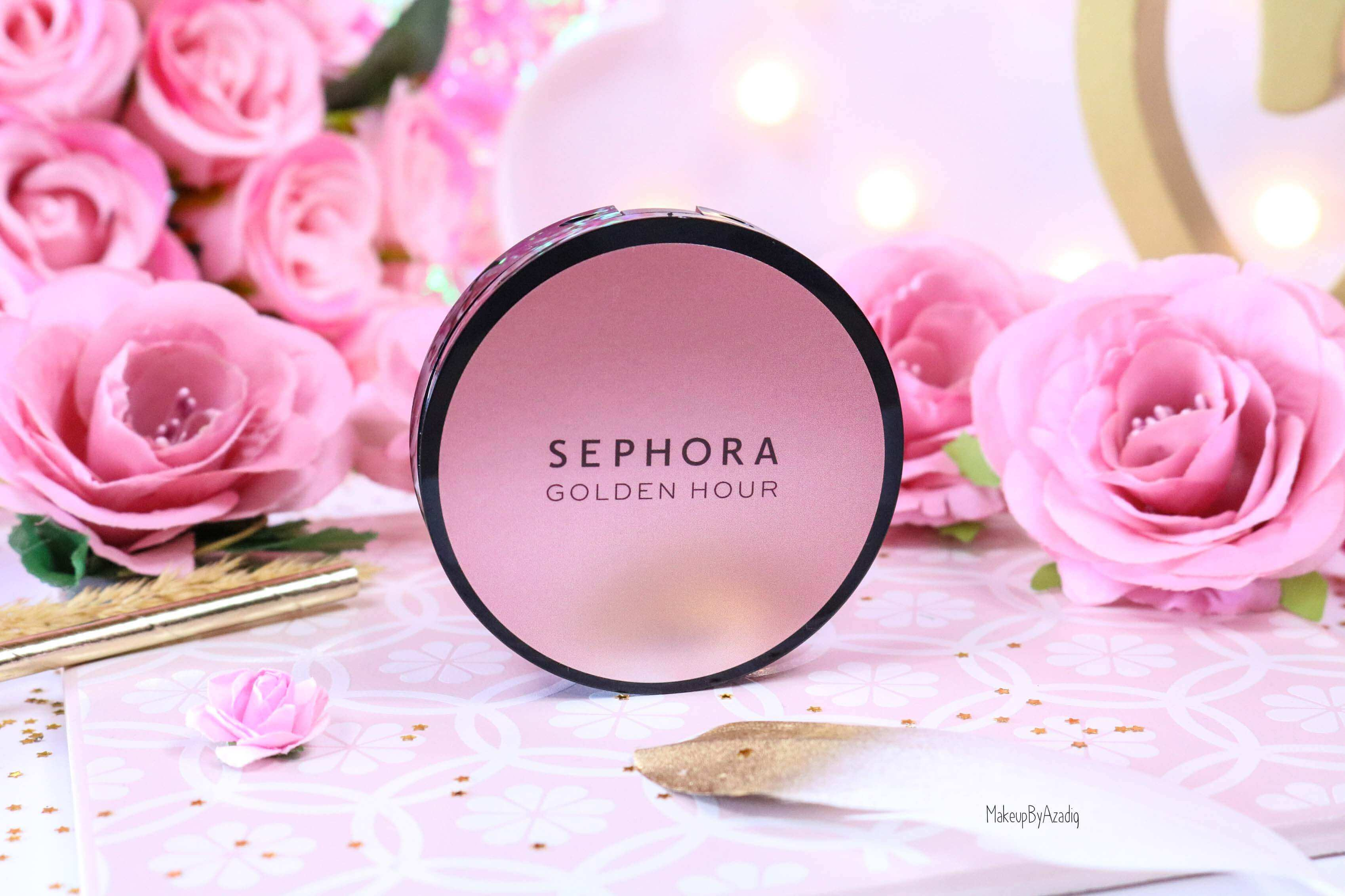 revue-highlighter-poudre-illuminatrice-golden-hour-dusk-sephora-collection-rosegold-avis-prix-swatch-makeupbyazadig-miniature