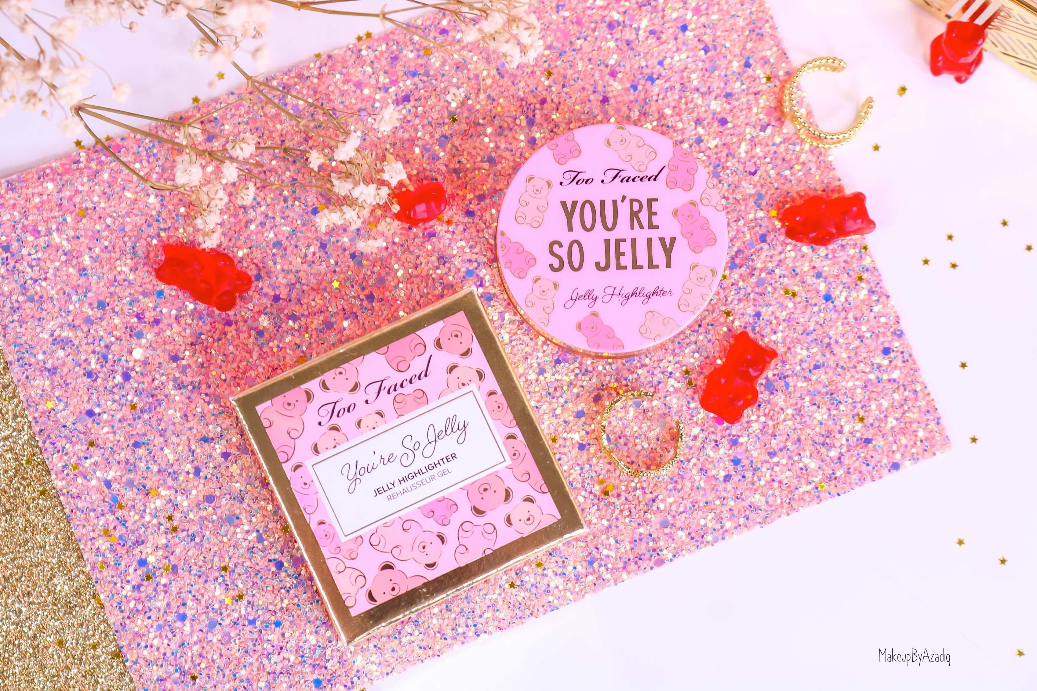 revue-highlighter-jelly-gel-rose-pink-too-faced-texture-cute-avis-prix-swatch-makeupbyazadig-sephora-france-girly