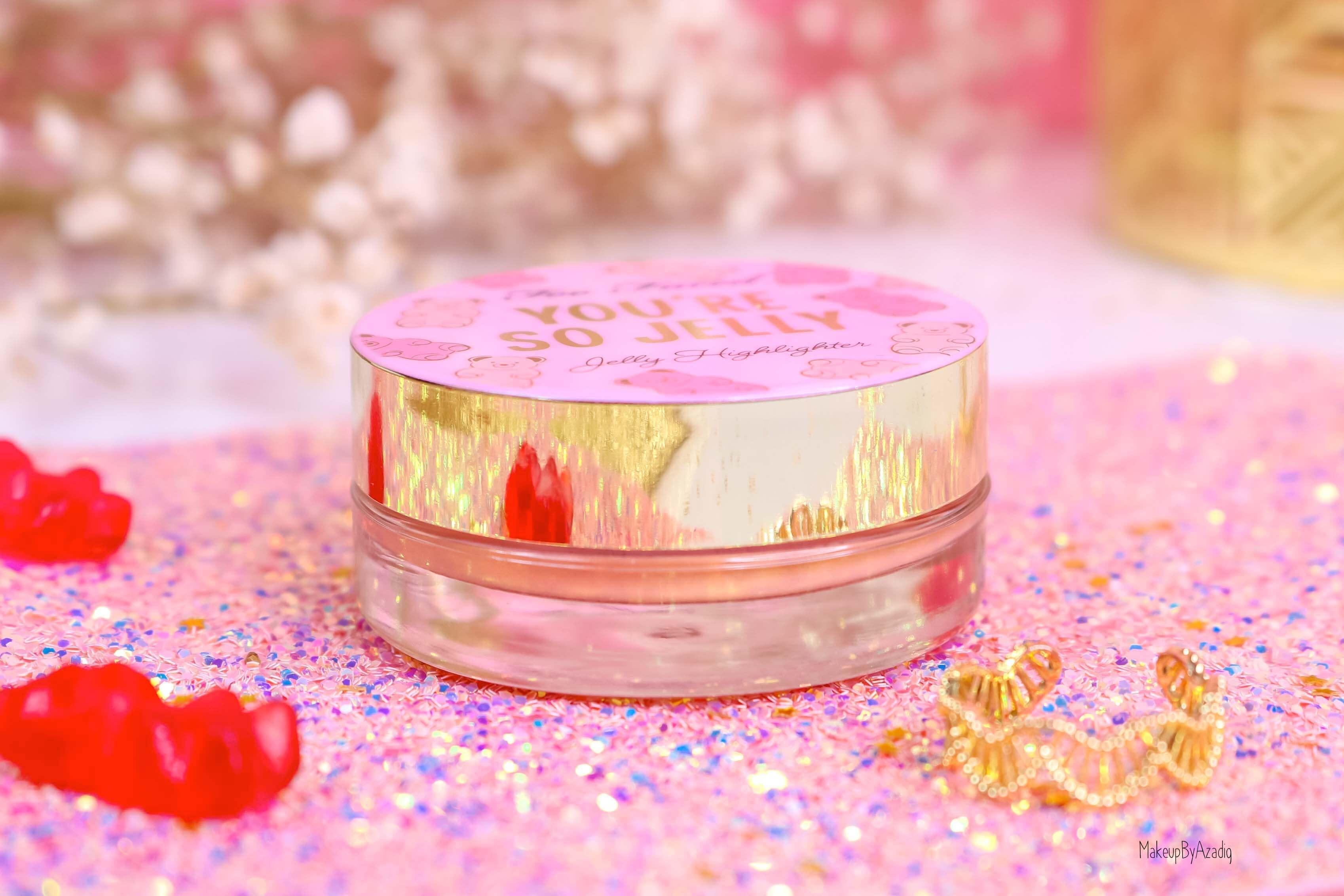 revue-highlighter-jelly-gel-rose-pink-too-faced-texture-cute-avis-prix-swatch-makeupbyazadig-sephora-france-gold