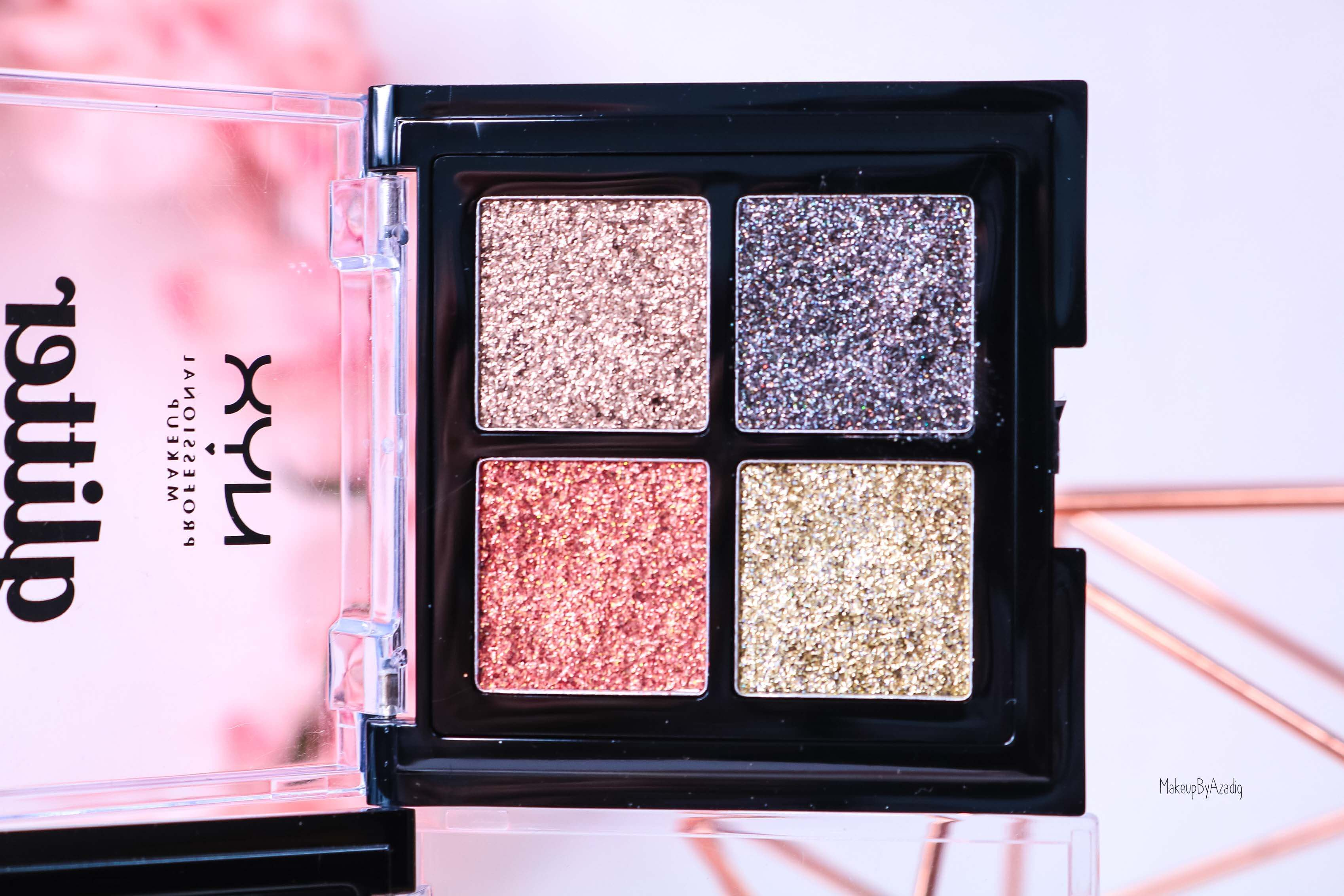 revue-palette-glitter-goals-nyx-professional-makeup-festival-coachella-avis-prix-paillette-makeupbyazadig-galactica-glacier-bronze