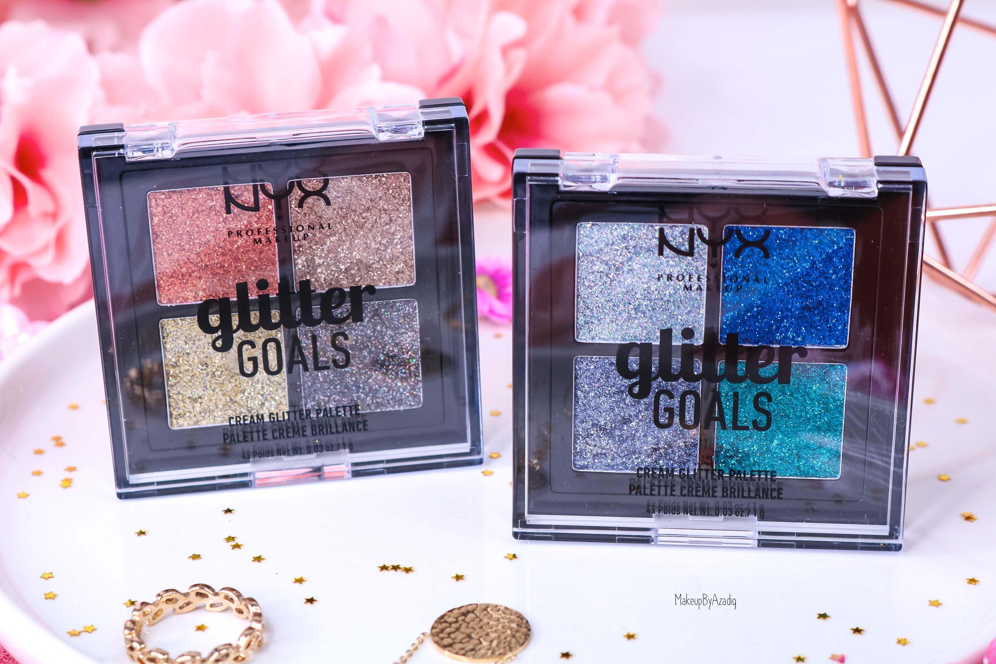 revue-palette-glitter-goals-nyx-professional-makeup-festival-coachella-avis-prix-paillette-makeupbyazadig-galactica-glacier-packaging