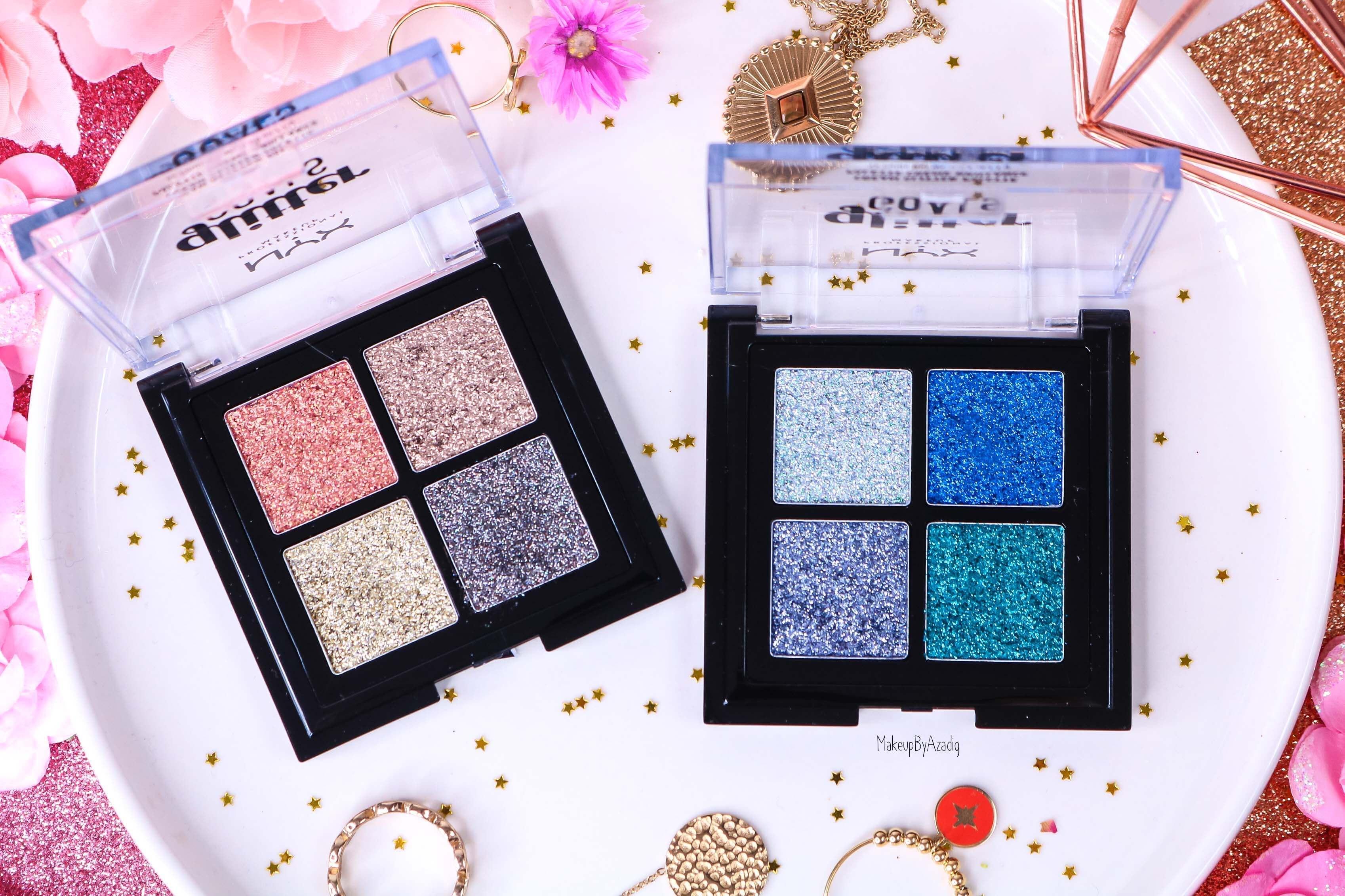 revue-palette-glitter-goals-nyx-professional-makeup-festival-coachella-avis-prix-paillette-makeupbyazadig-galactica-glacier-teintes