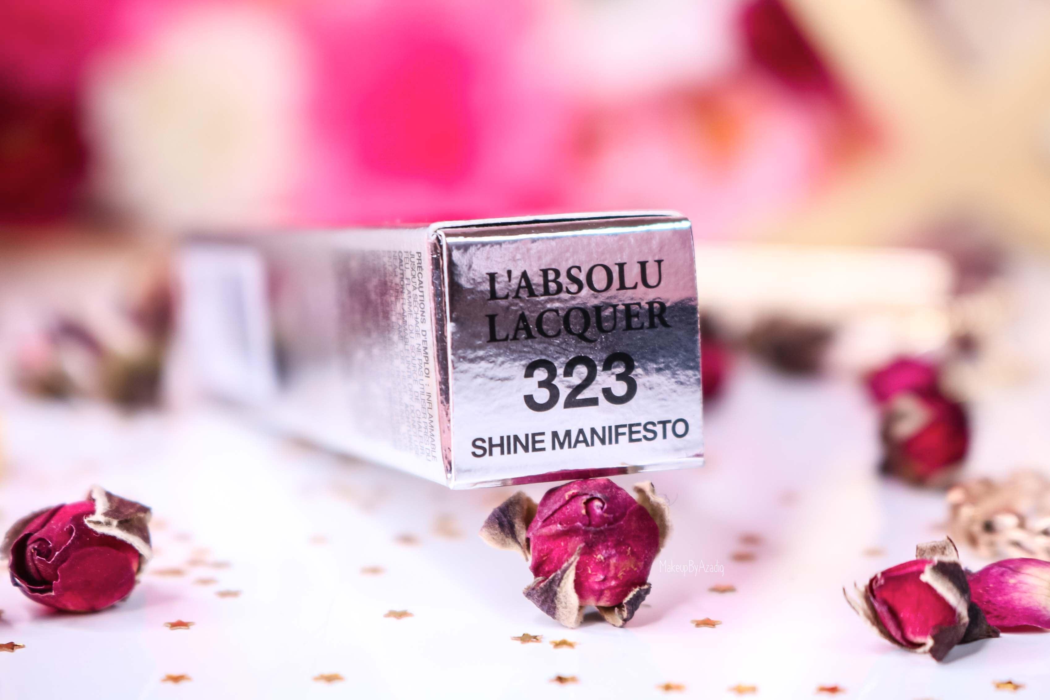 revue-lacque-a-levres-absolu-lacquer-lancome-shine-manifesto-323-sephora-avis-prix-tenue-makeupbyazadig-swatch-teinte