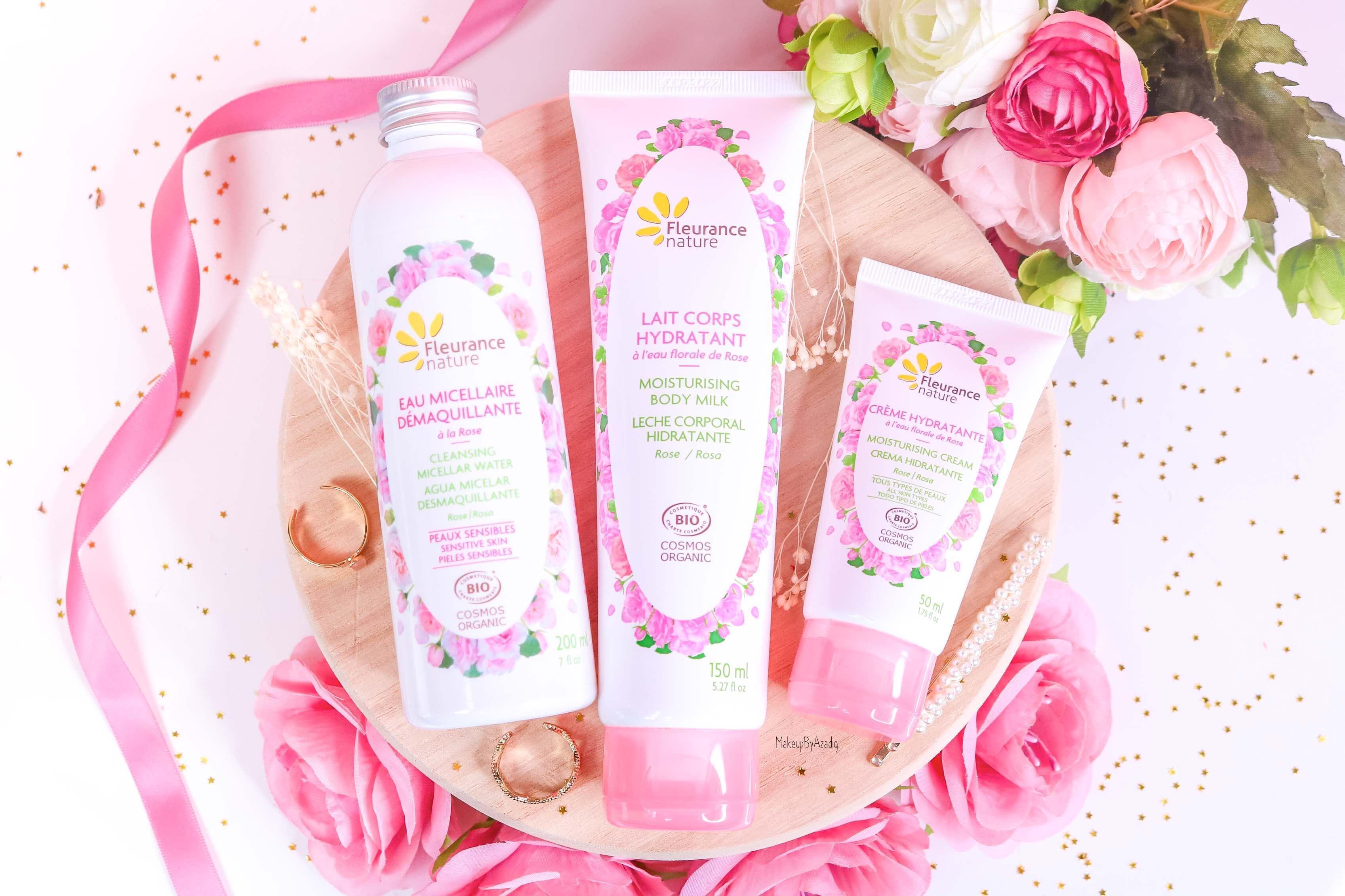 revue-produit-corps-visage-rose-fleurance-nature-hydratant-bio-cosmos-organic-avis-prix-makeupbyazadig-eau-micellaire-certifie