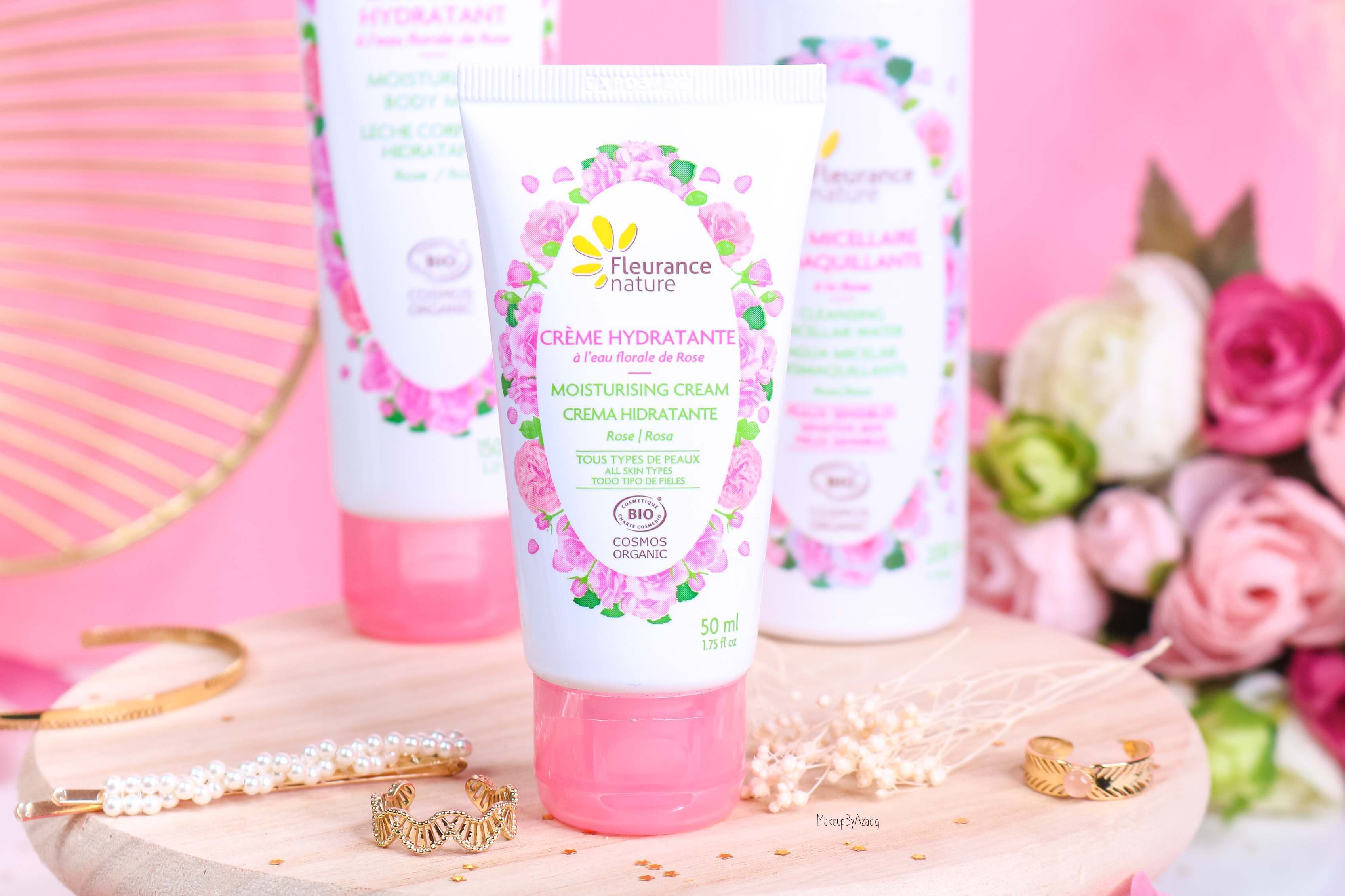 revue-produit-corps-visage-rose-fleurance-nature-hydratant-bio-cosmos-organic-avis-prix-makeupbyazadig-eau-micellaire-creme