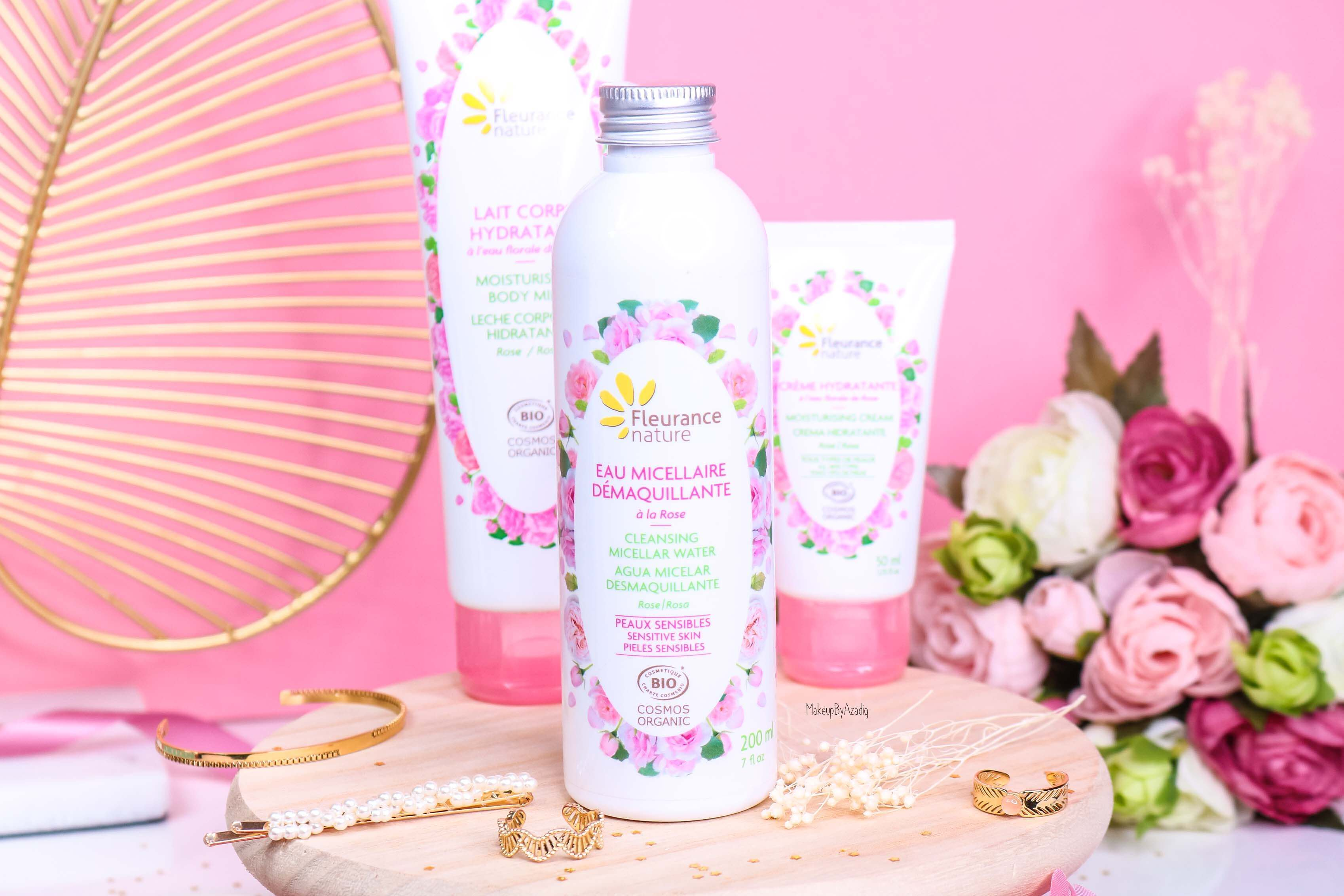 revue-produit-corps-visage-rose-fleurance-nature-hydratant-bio-cosmos-organic-avis-prix-makeupbyazadig-eau-micellaire-efficacite