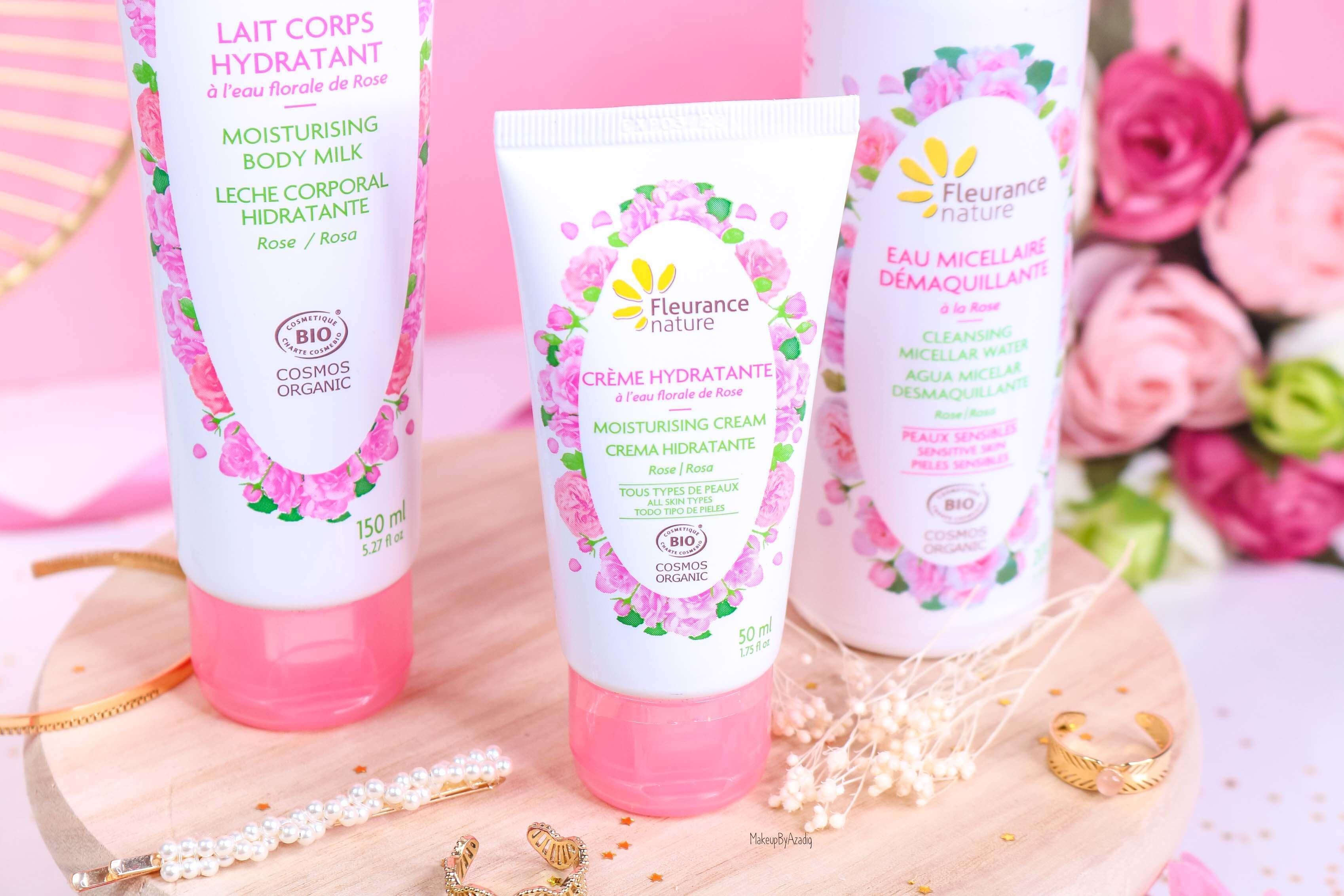revue-produit-corps-visage-rose-fleurance-nature-hydratant-bio-cosmos-organic-avis-prix-makeupbyazadig-eau-micellaire-flower