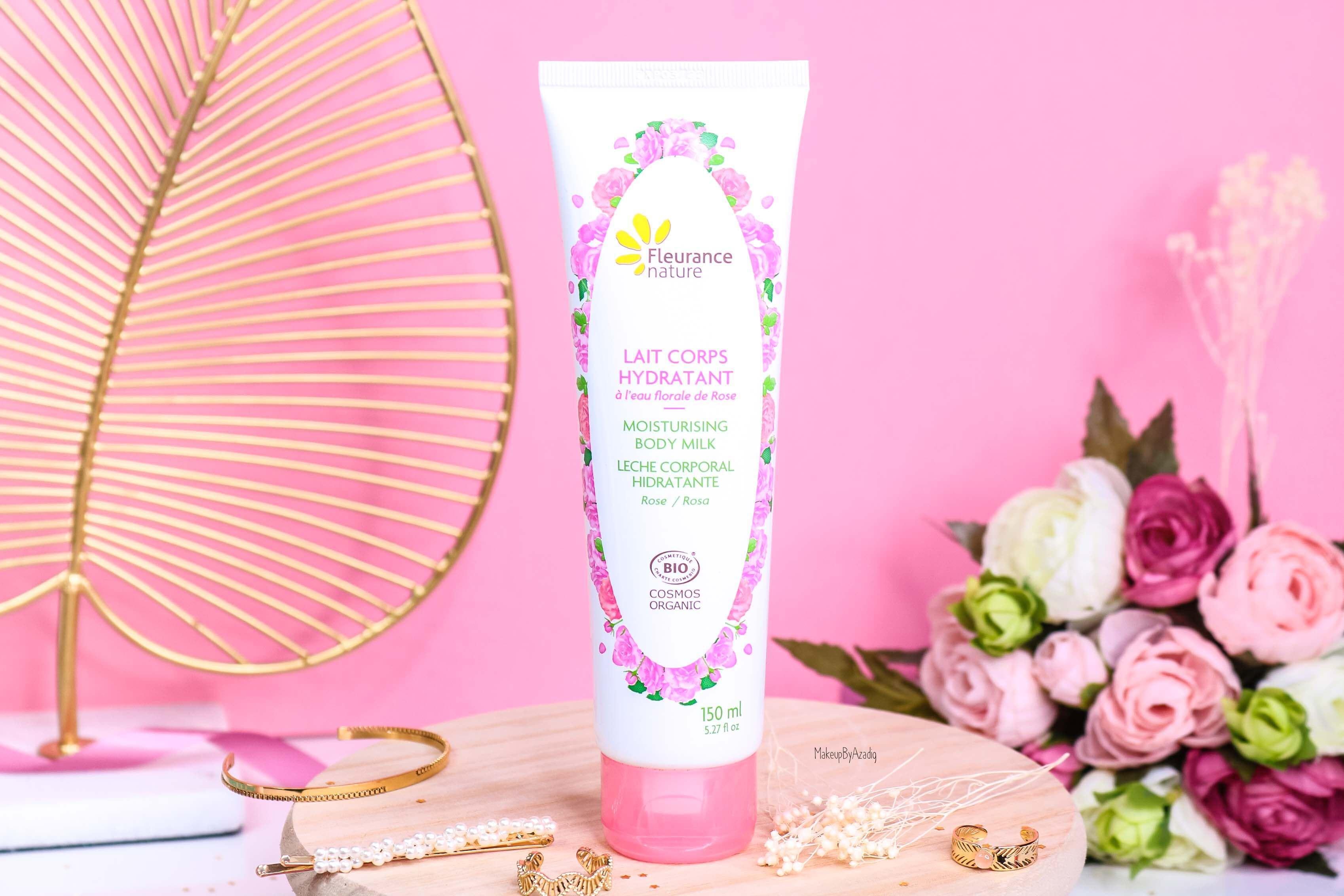revue-produit-corps-visage-rose-fleurance-nature-hydratant-bio-cosmos-organic-avis-prix-makeupbyazadig-eau-micellaire-lait