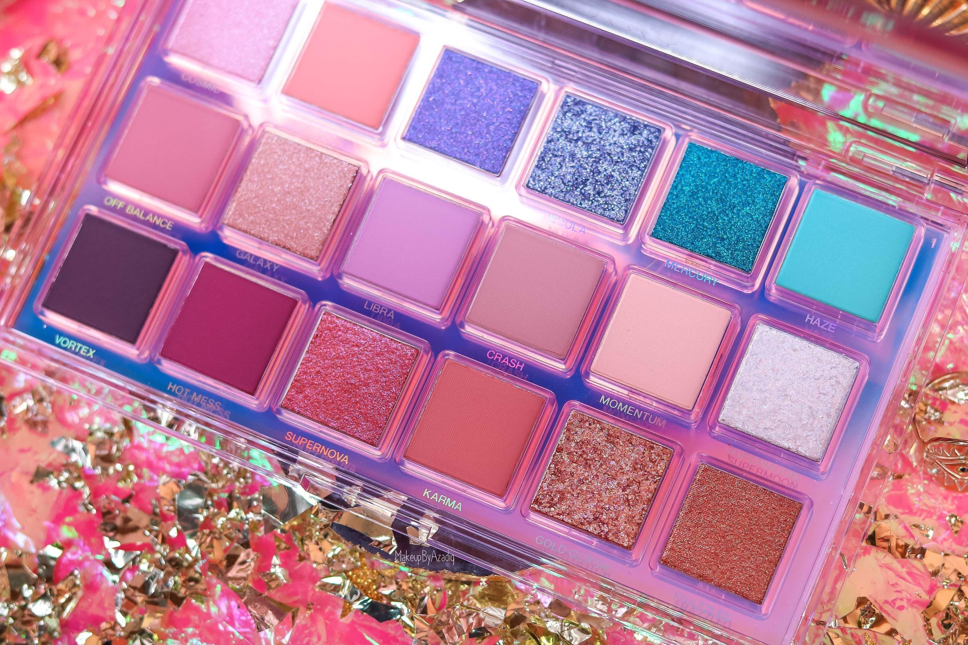 revue-palette-mercury-retrograde-huda-beauty-sephora-france-makeupbyazadig-avis-prix-swatch-astrologie-couleurs