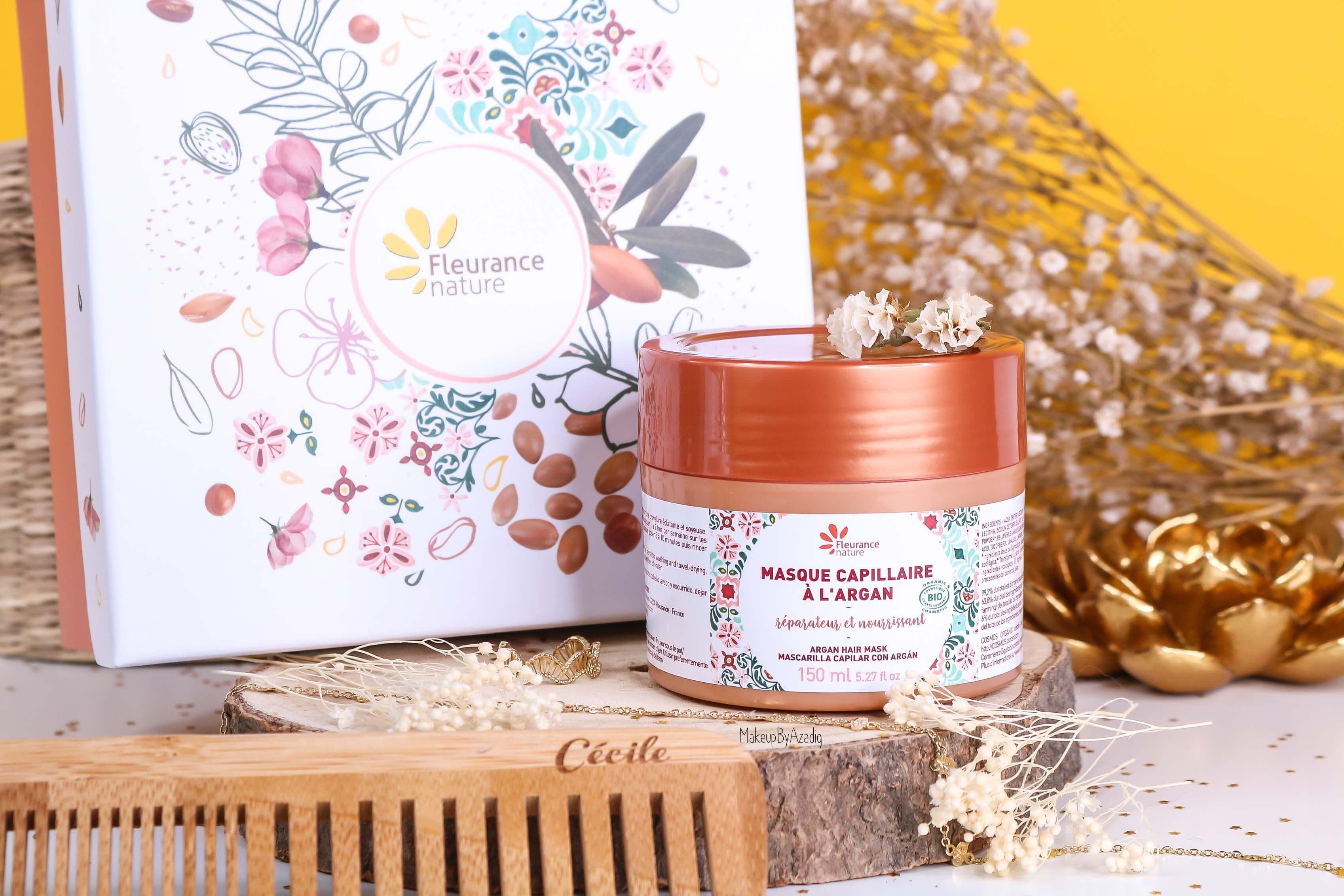 revue-masque-cheveux-capillaire-argan-reparateur-nourrissant-fleurance-nature-makeupbyazadig-bio-soin-avis-prix-resultat-coffret
