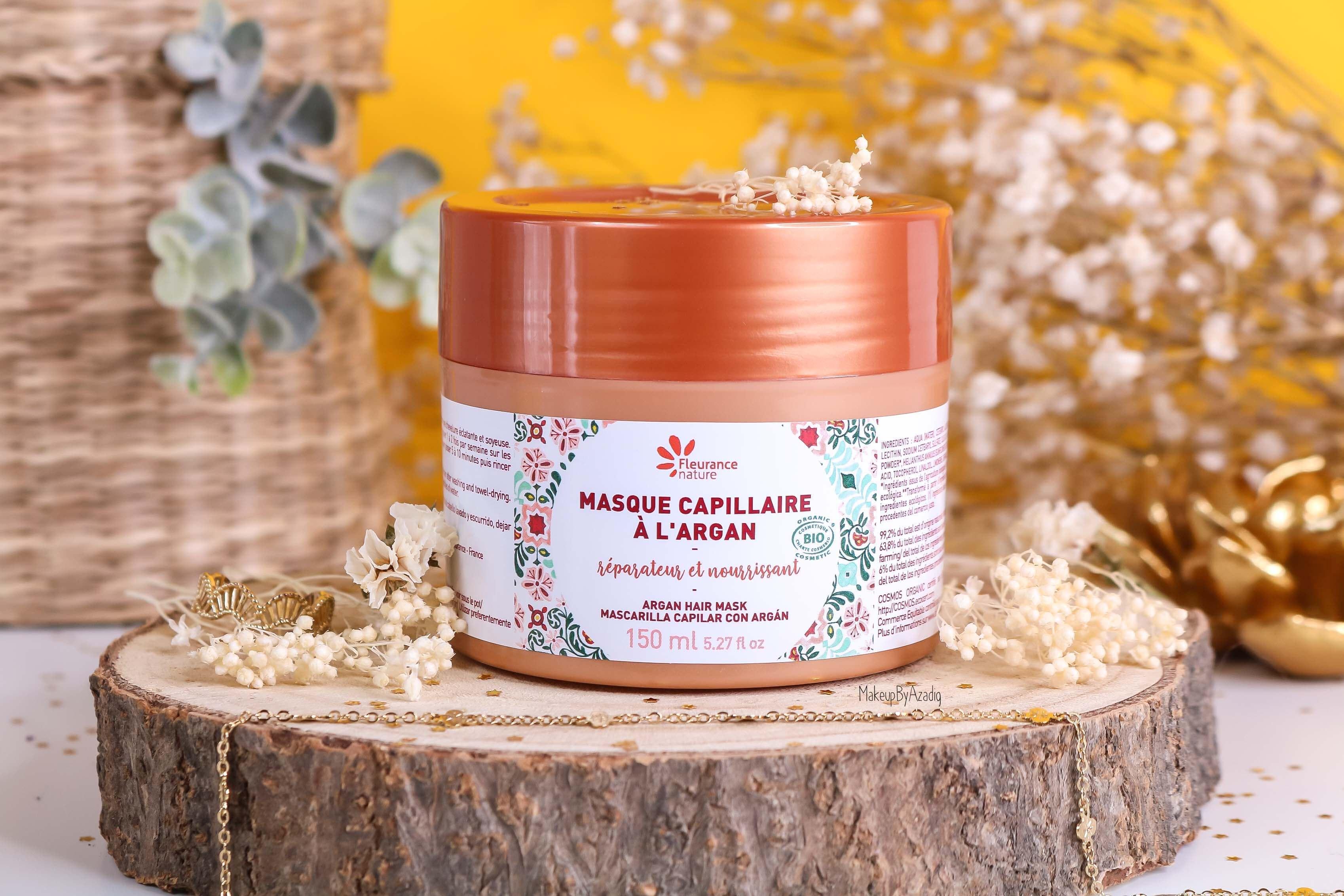 revue-masque-cheveux-capillaire-argan-reparateur-nourrissant-fleurance-nature-makeupbyazadig-bio-soin-avis-prix-resultat-packaging